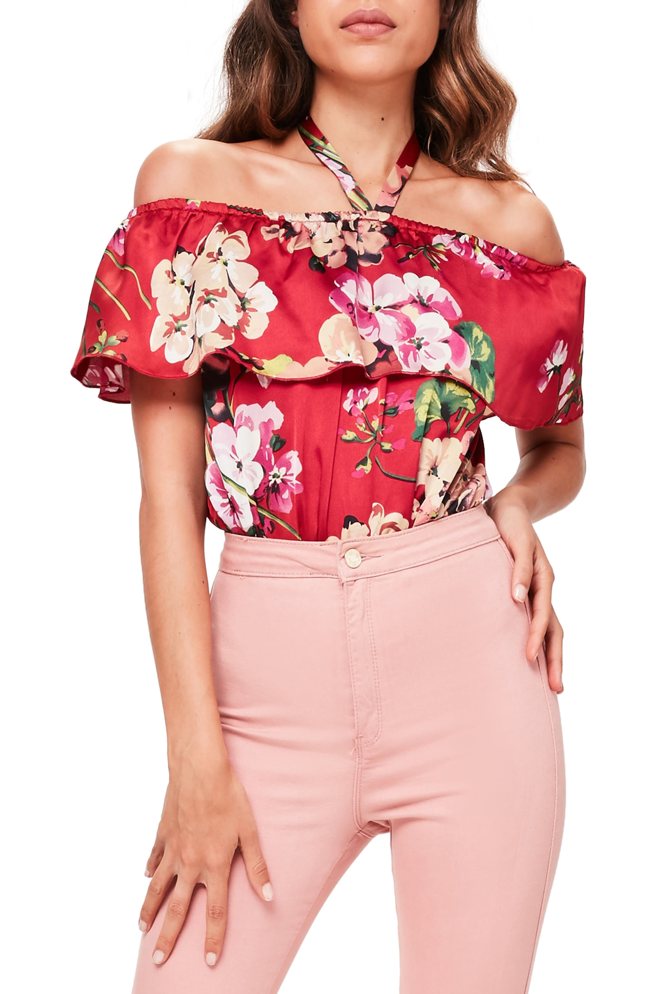 Main Image - Missguided Ruffle Off the Shoulder Bodysuit