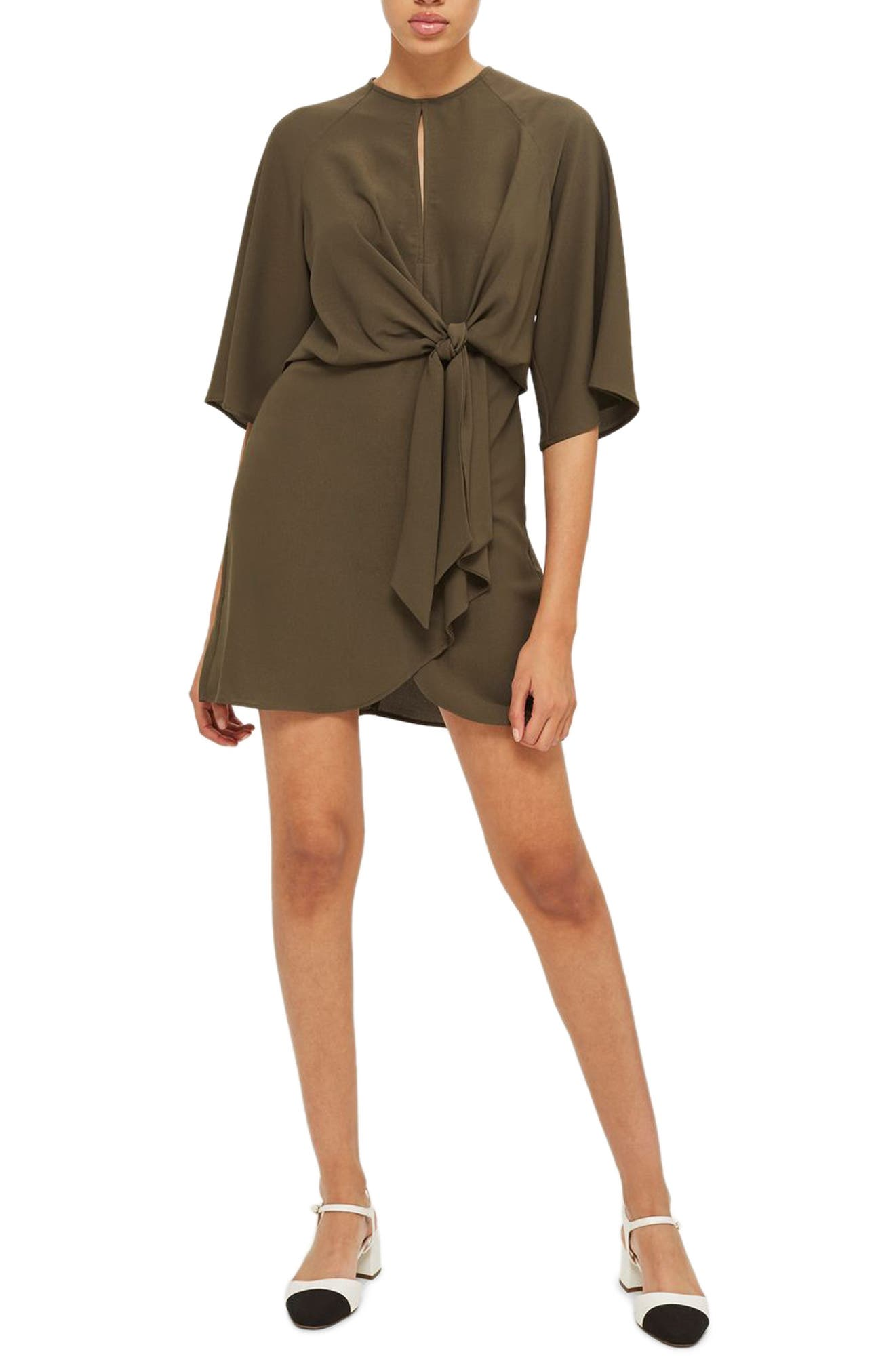 Tie Front Minidress,                         Main,                         color, Olive