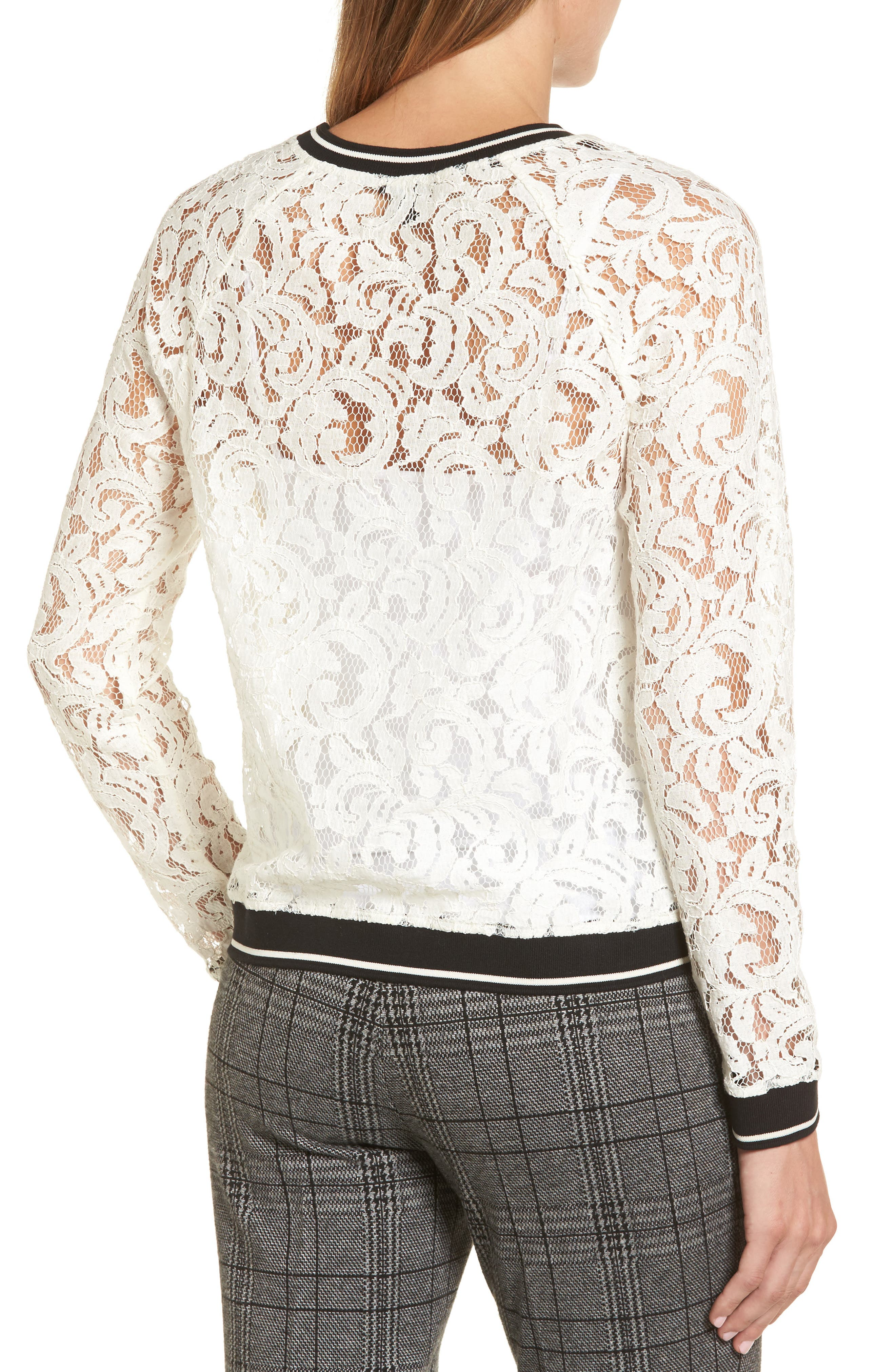 Ribbed Trim Lace Top,                             Alternate thumbnail 2, color,                             Ivory