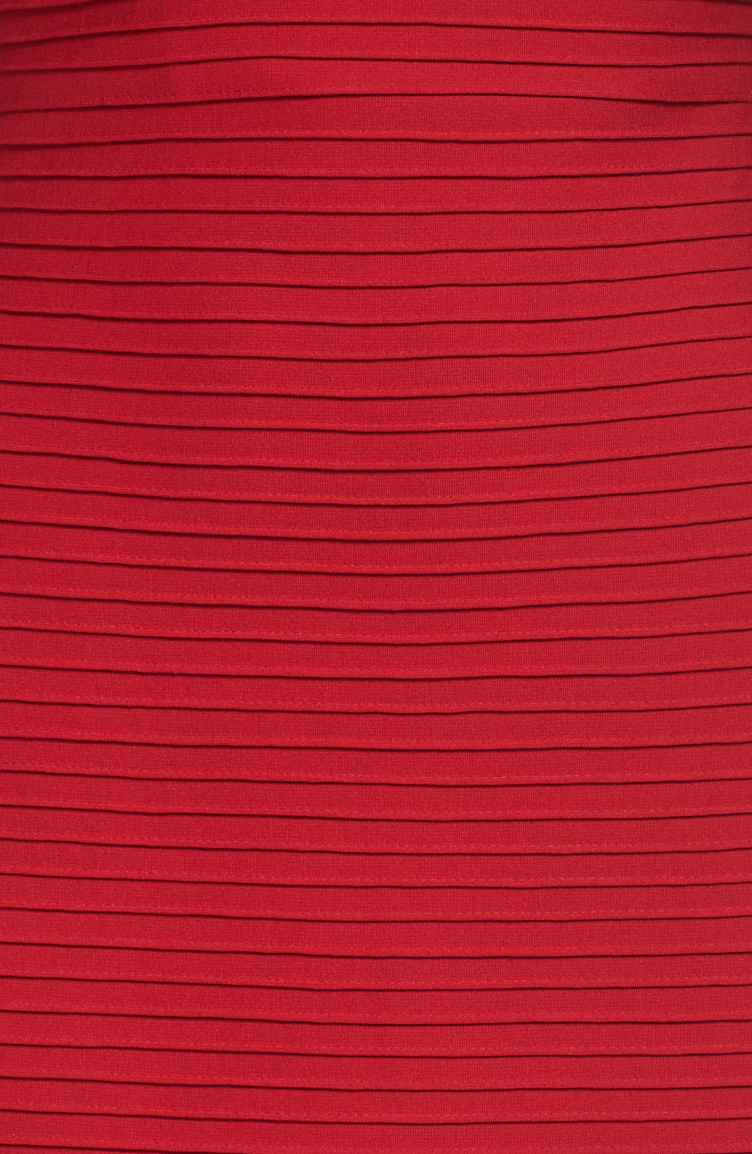 Illusion Pintuck Sheath Dress,                             Alternate thumbnail 5, color,                             Deep Red