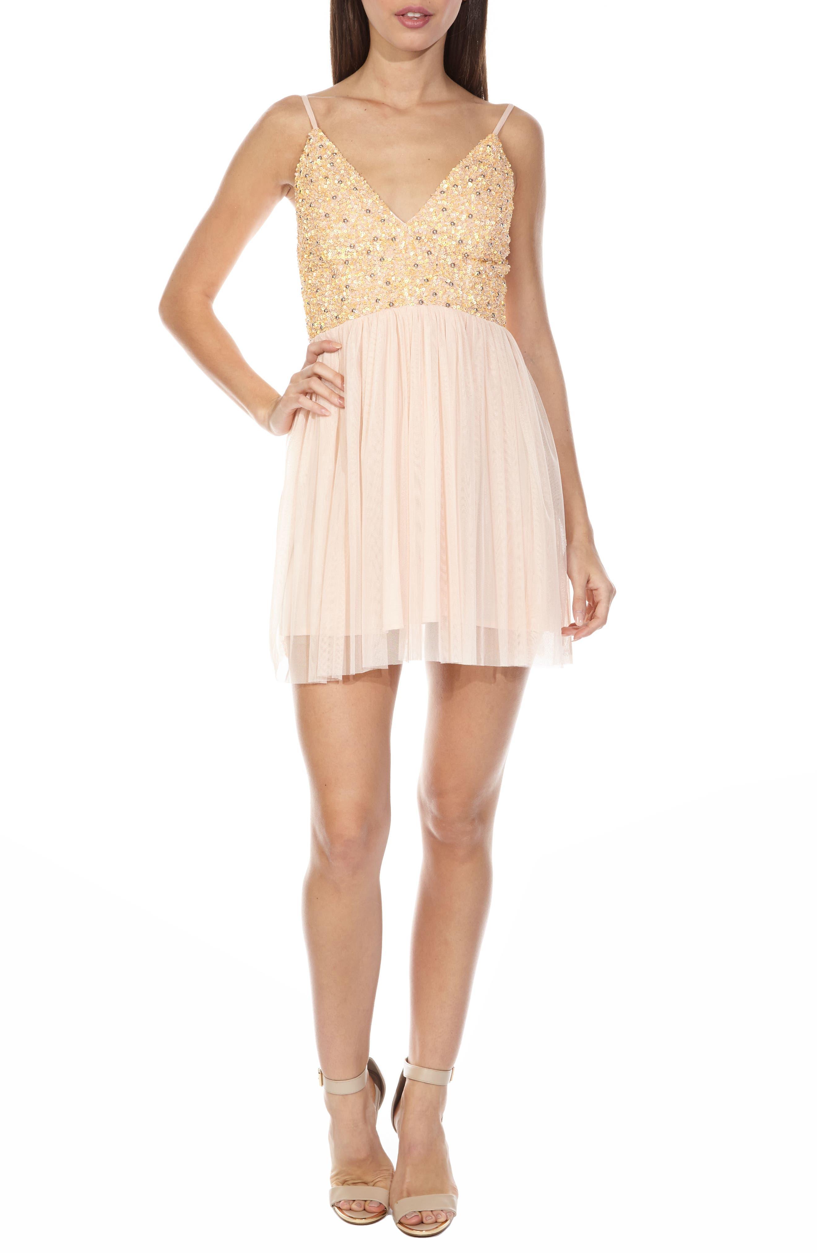 Irina Embellished Chiffon Dress,                         Main,                         color, Nude