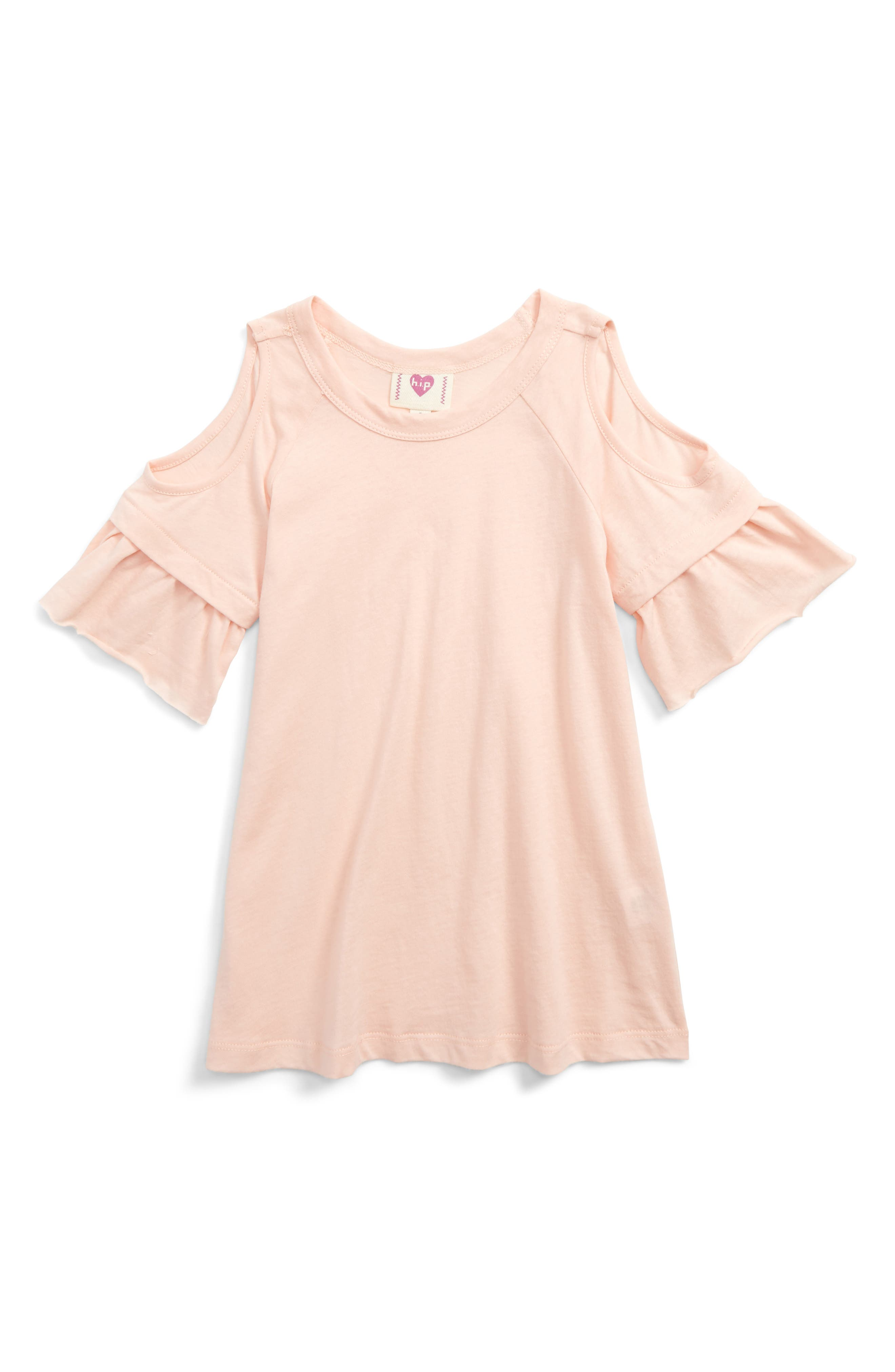 Flutter Sleeve Cold Shoulder Tee,                         Main,                         color, Blush