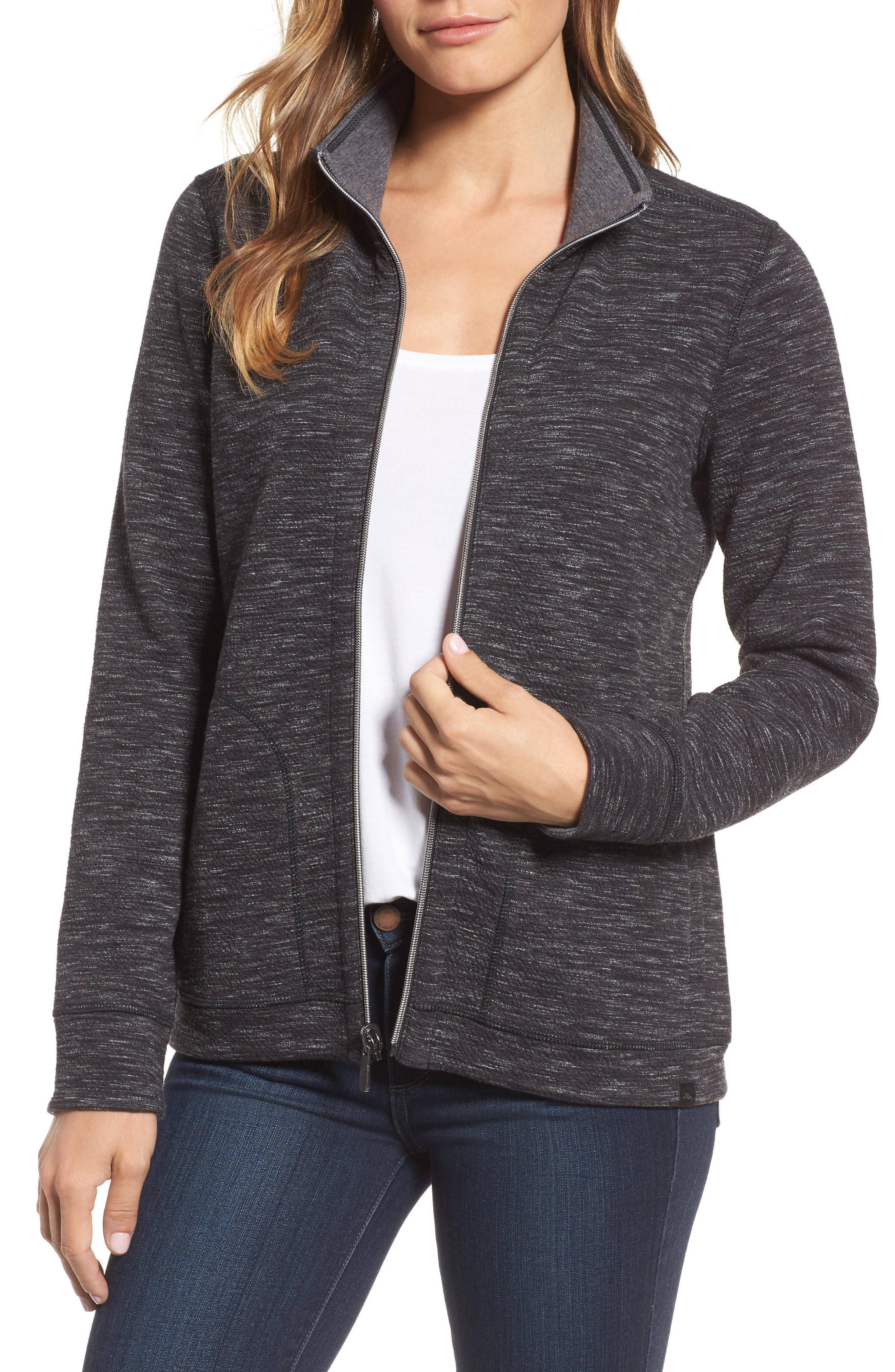 Reversible Marled Knit Jacket,                             Main thumbnail 1, color,                             Noir Heather