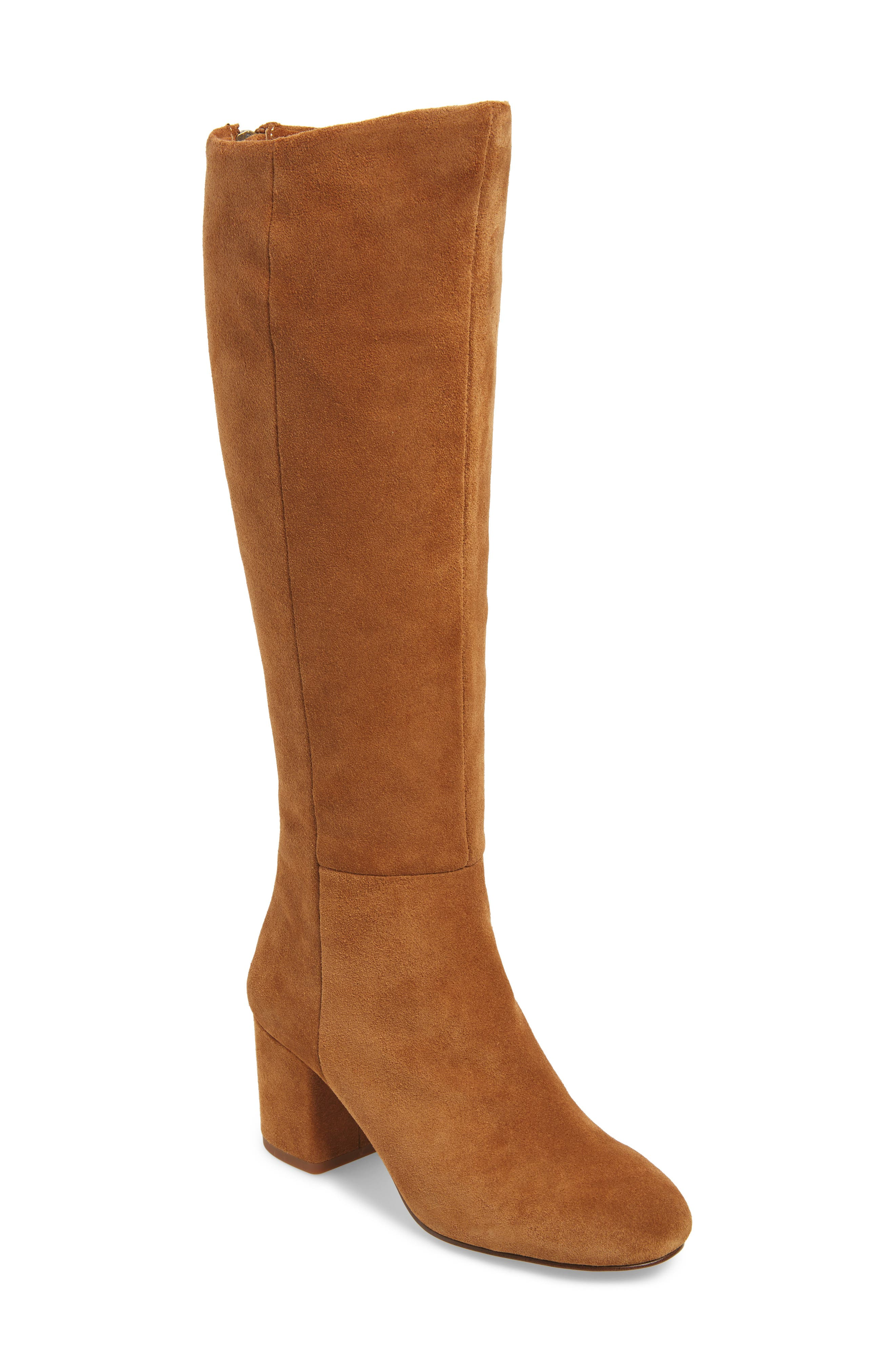Danise Knee High Boot,                         Main,                         color, Chestnut Suede