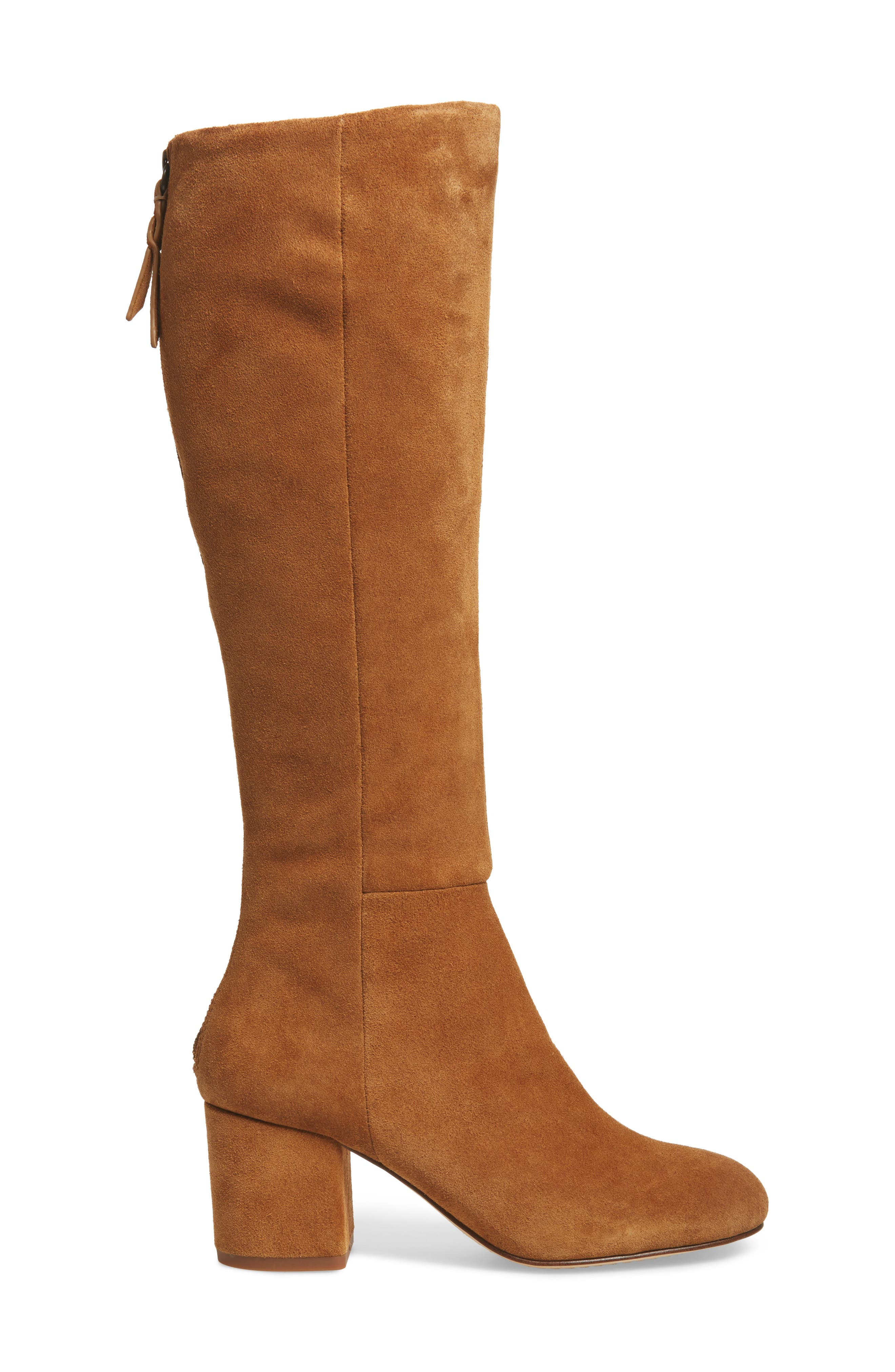 Danise Knee High Boot,                             Alternate thumbnail 3, color,                             Chestnut Suede