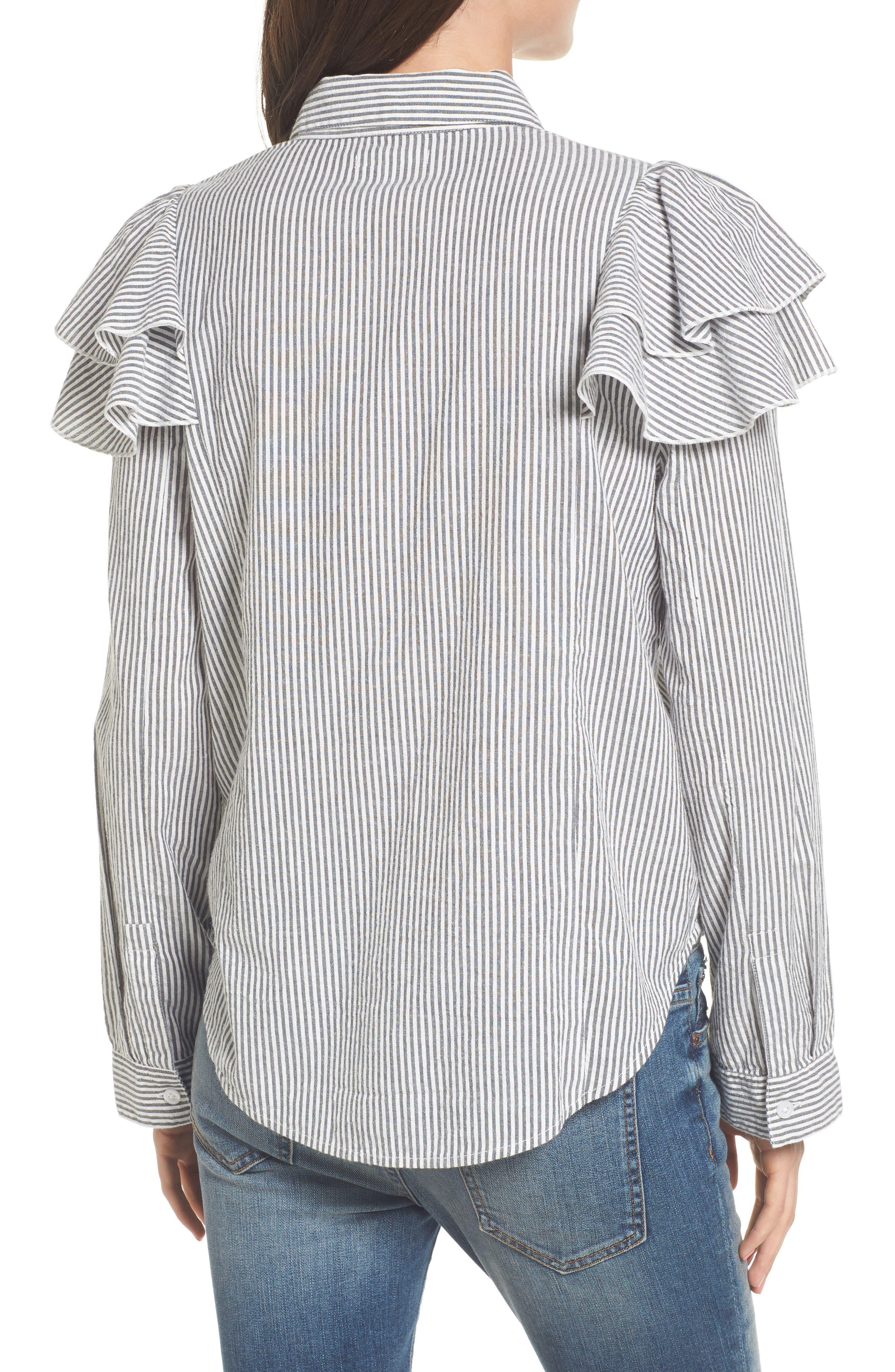Ruffle Shoulder Shirt,                             Alternate thumbnail 2, color,                             Ivory Egret Katie Stripe