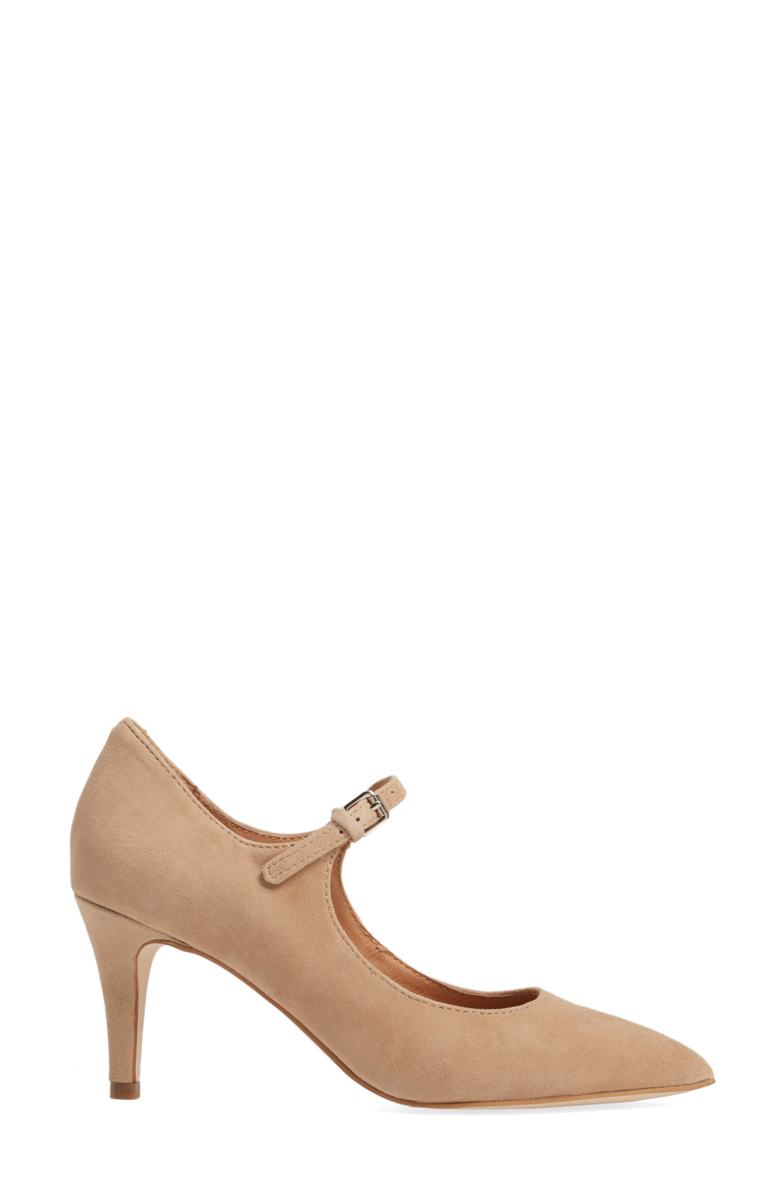 Coy Pointy Toe Pump,                             Alternate thumbnail 3, color,                             Dark Nude Suede