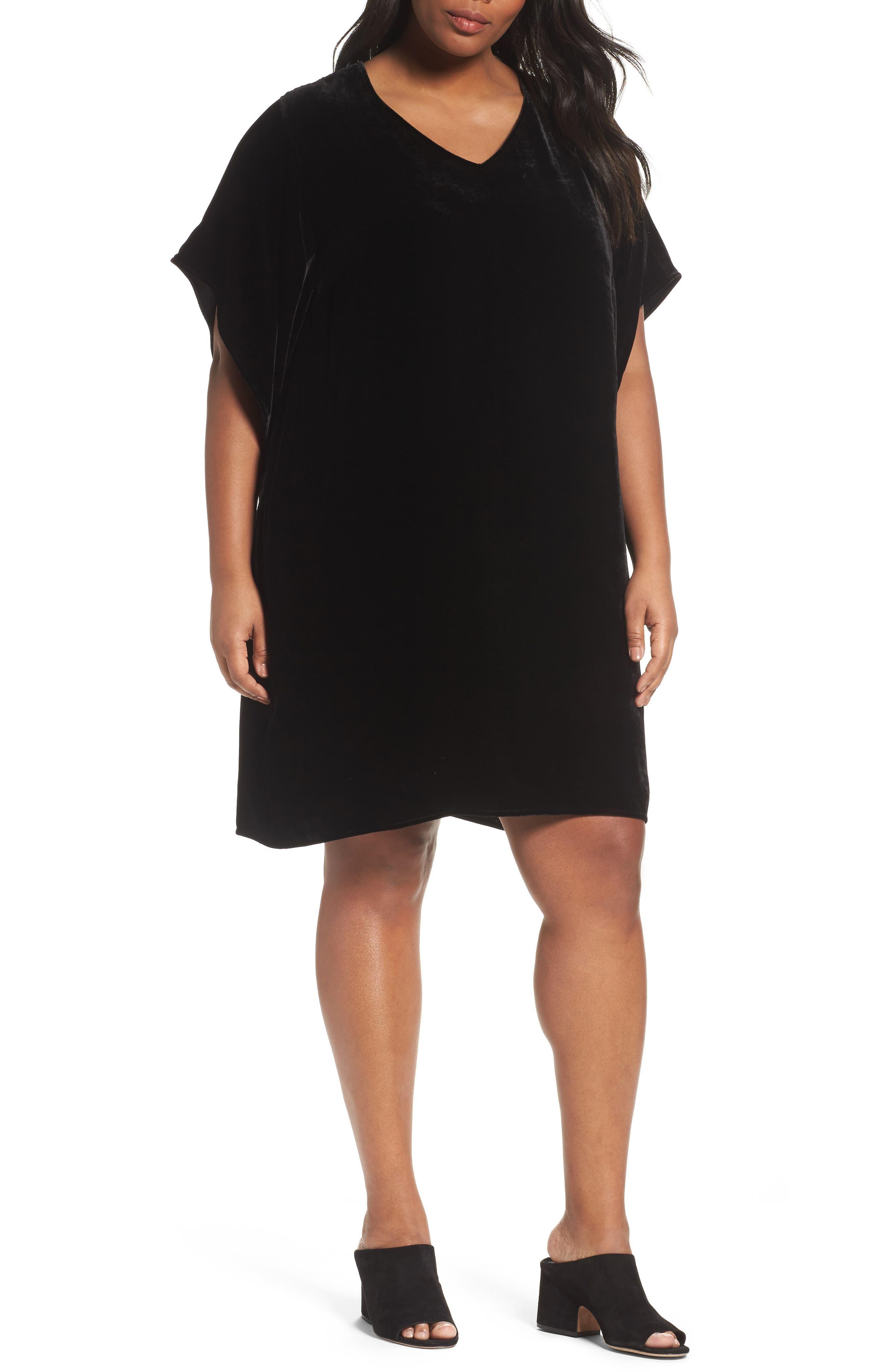 Eileen Fisher Kimono V-Neck Velvet Dress (Plus Size)