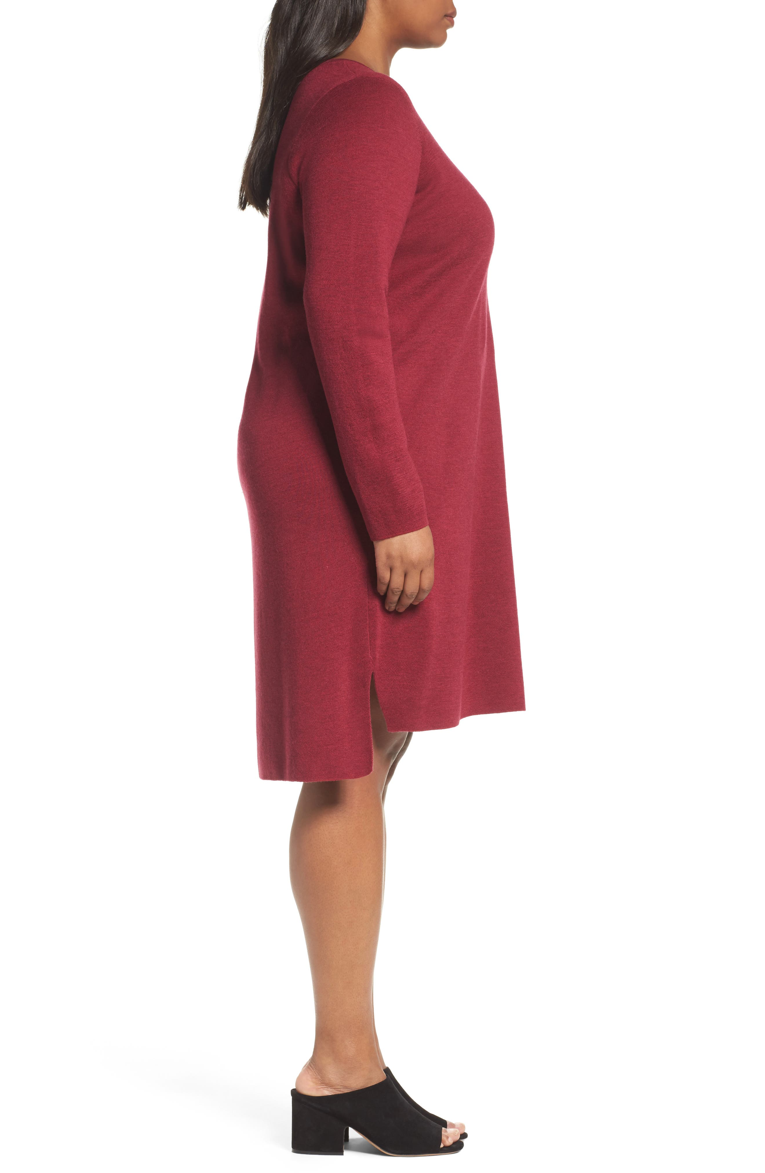 Merino Wool Sweater Dress,                             Alternate thumbnail 3, color,                             Hibiscus