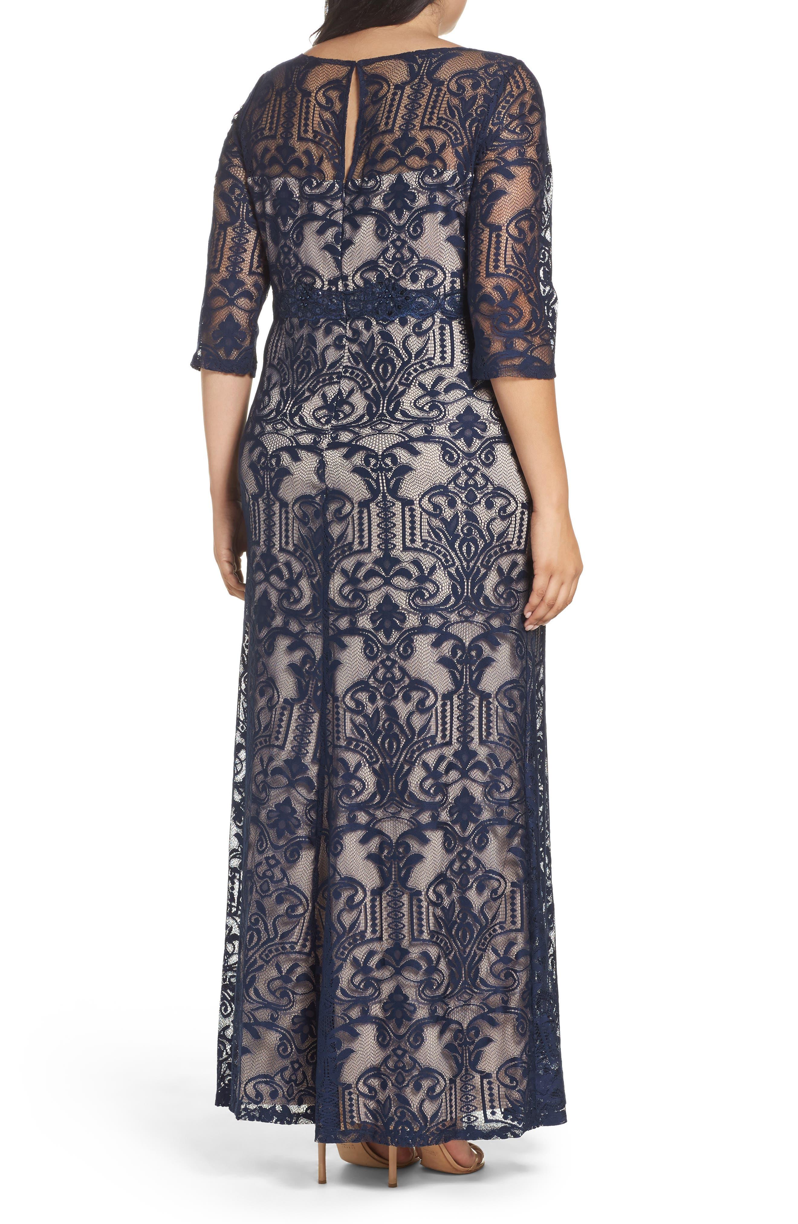 Alternate Image 2  - Sangria A-Line Lace Gown (Plus Size)