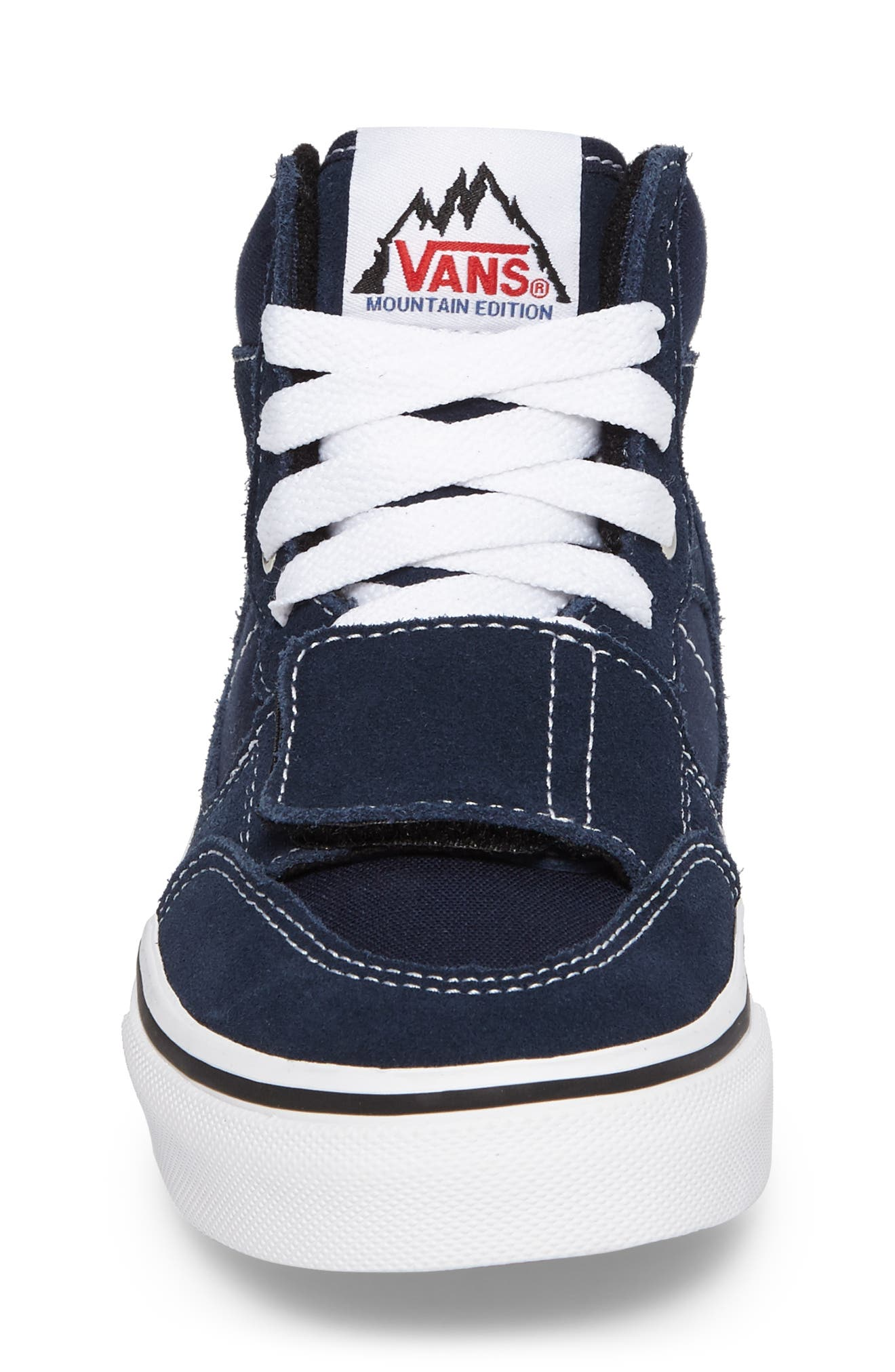 Mountain Edition Mid Top Sneaker,                             Alternate thumbnail 4, color,                             Dress Blue Canvas/ Suede