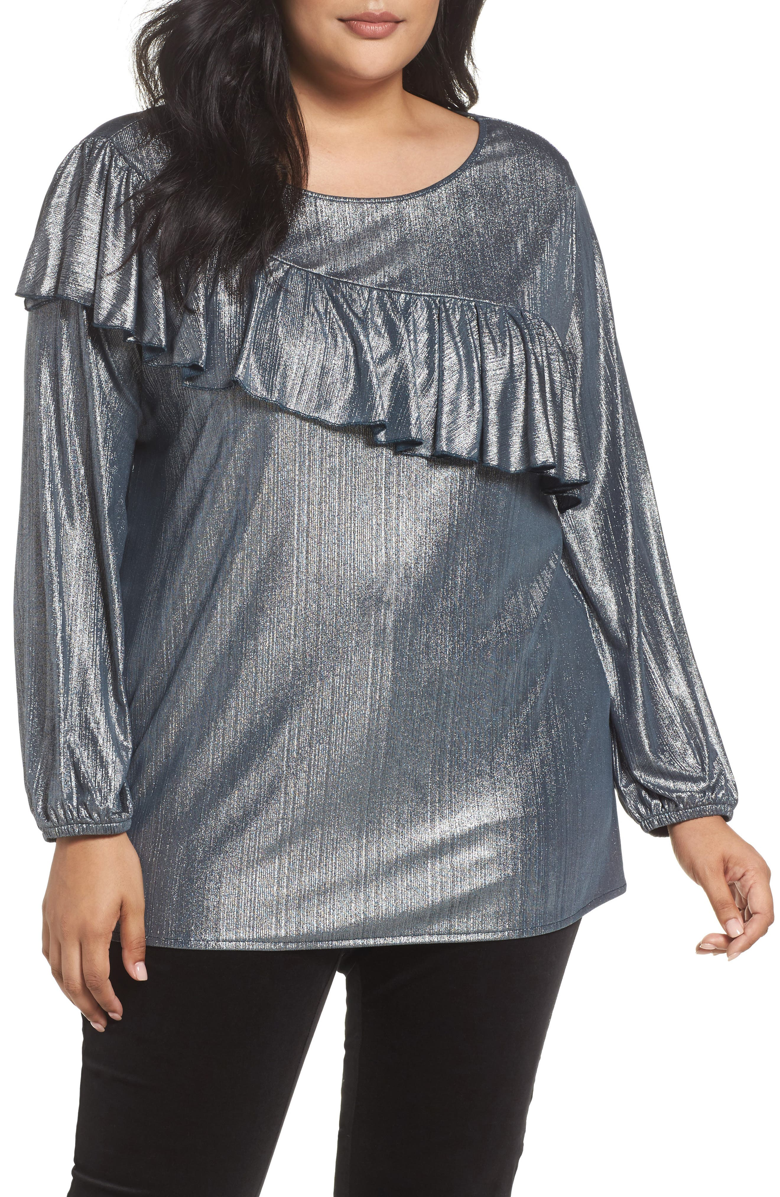 Sejour Long Sleeve Ruffle Top (Plus Size)