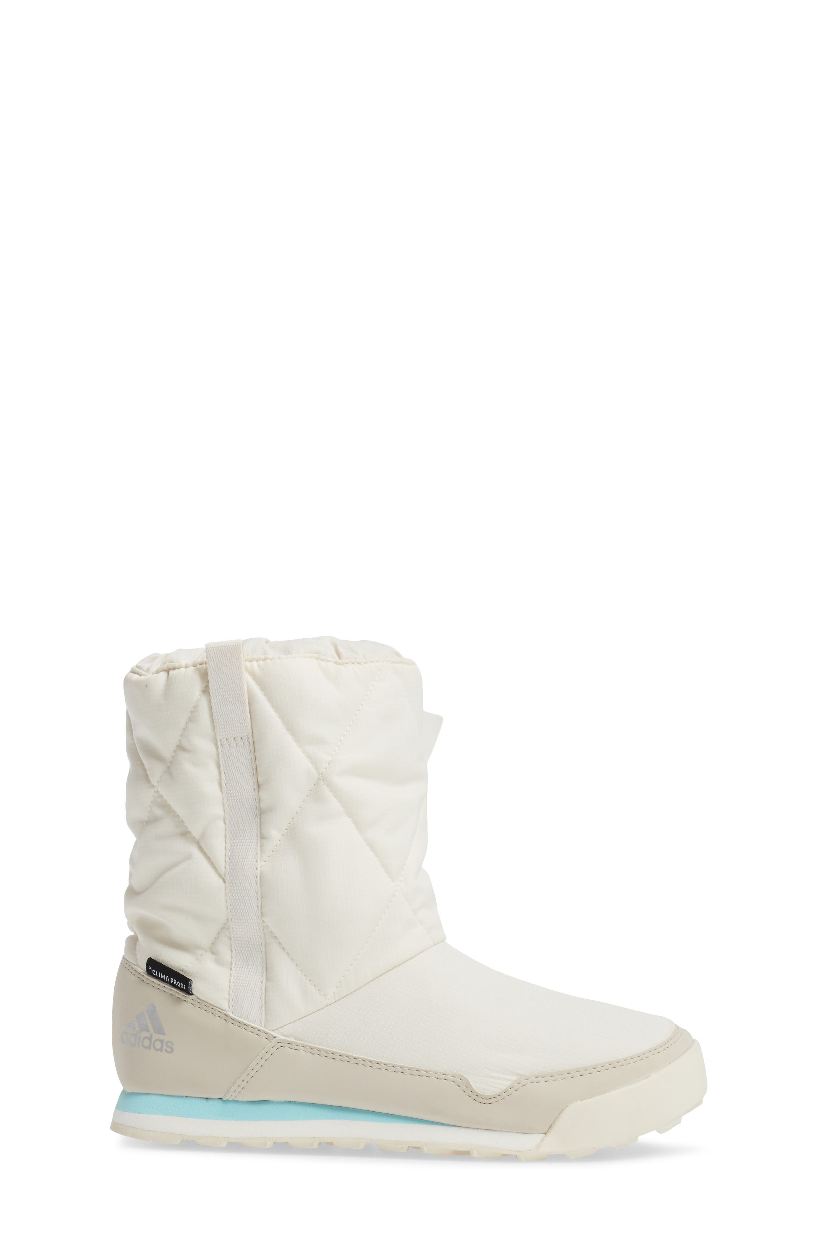 CW Snowpitch Insulated Waterproof Boot,                             Alternate thumbnail 3, color,                             Chalk White/ Clear Brown/ Aqua