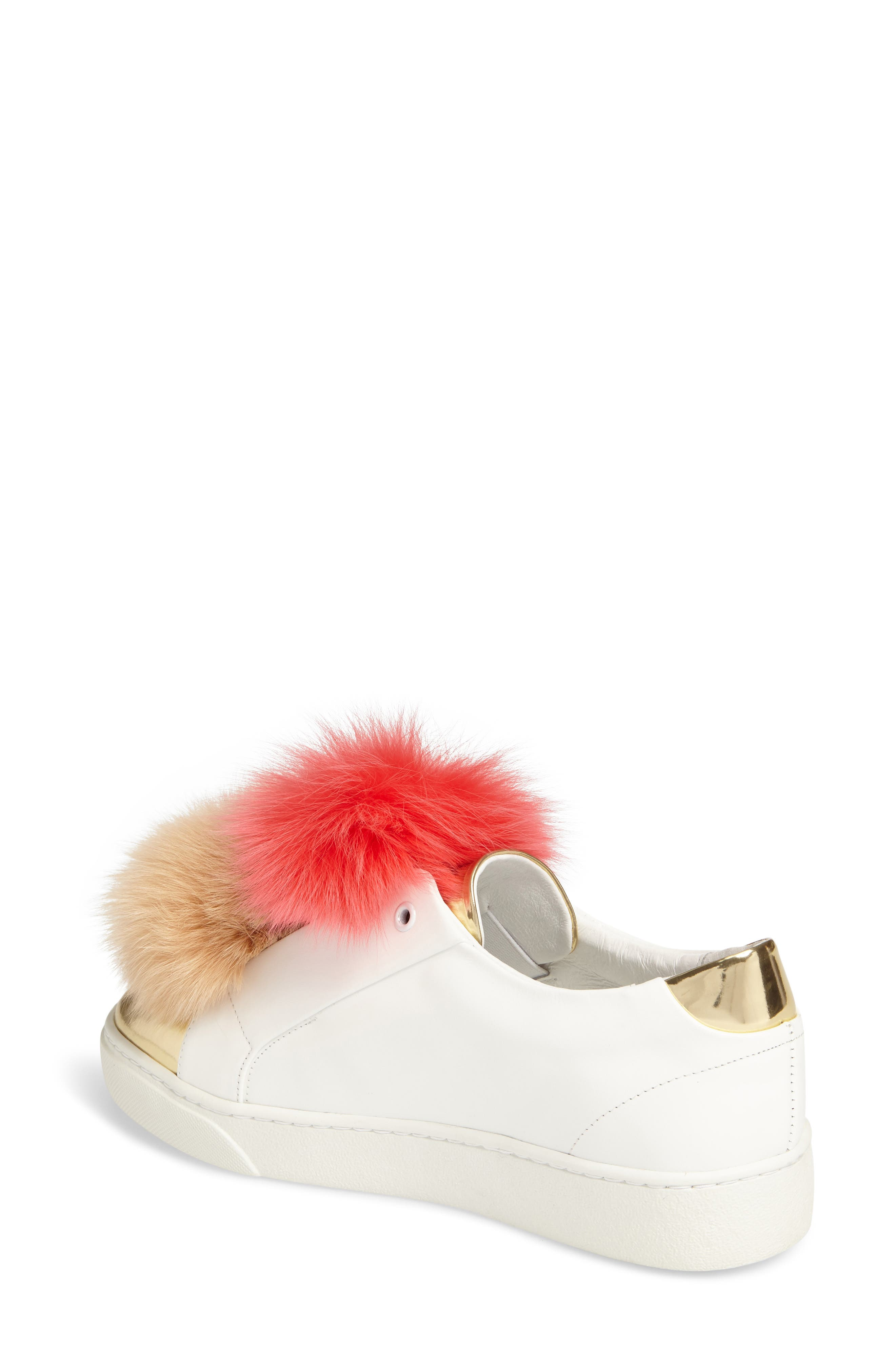 Coco Genuine Fox Fur Trim Platfrom Sneaker,                             Alternate thumbnail 2, color,                             Pink/Camel Leather