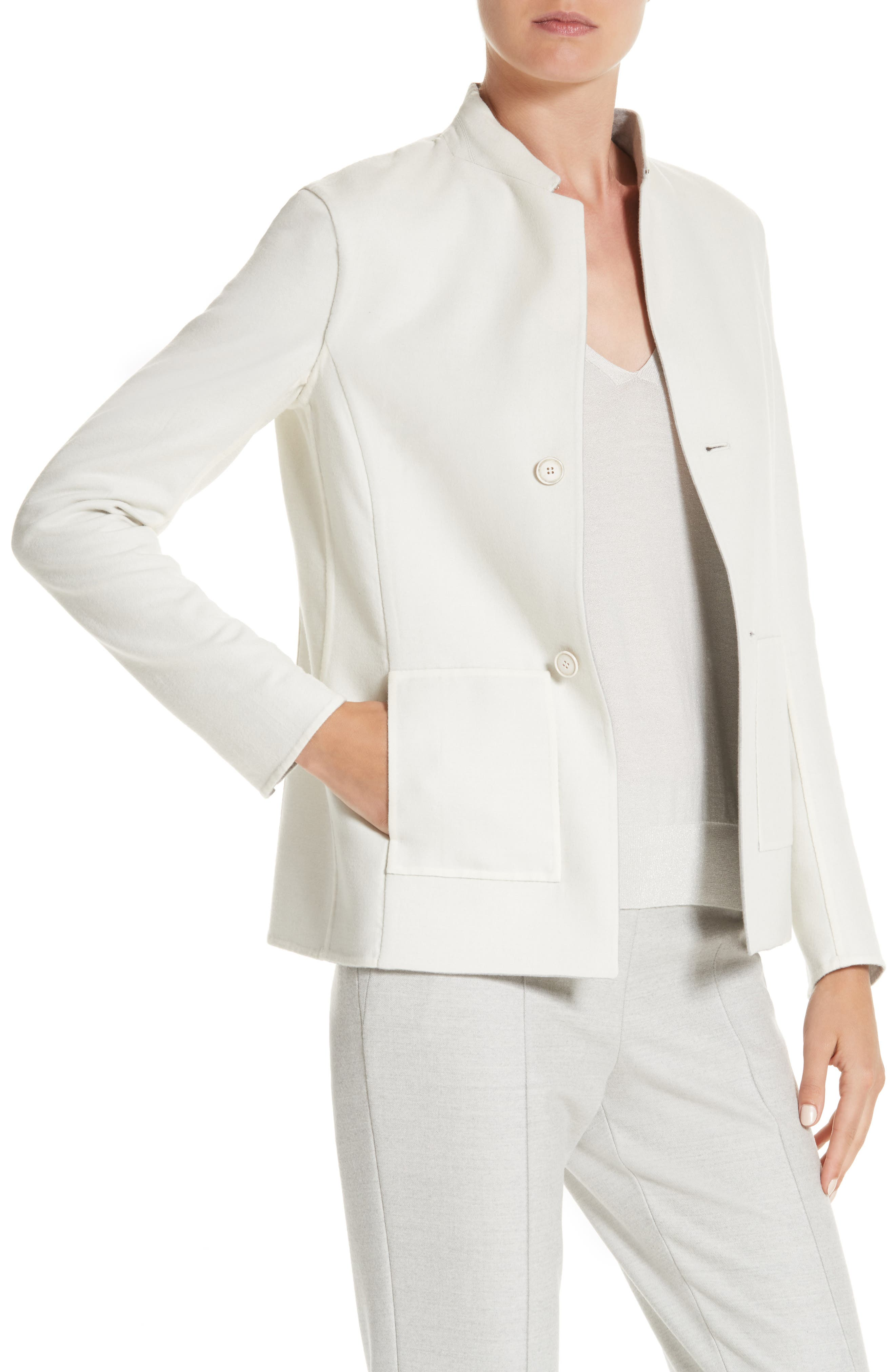 Stretch Wool & Silk Bicolor Reversible Jacket,                             Alternate thumbnail 4, color,                             Gravel/ Off White