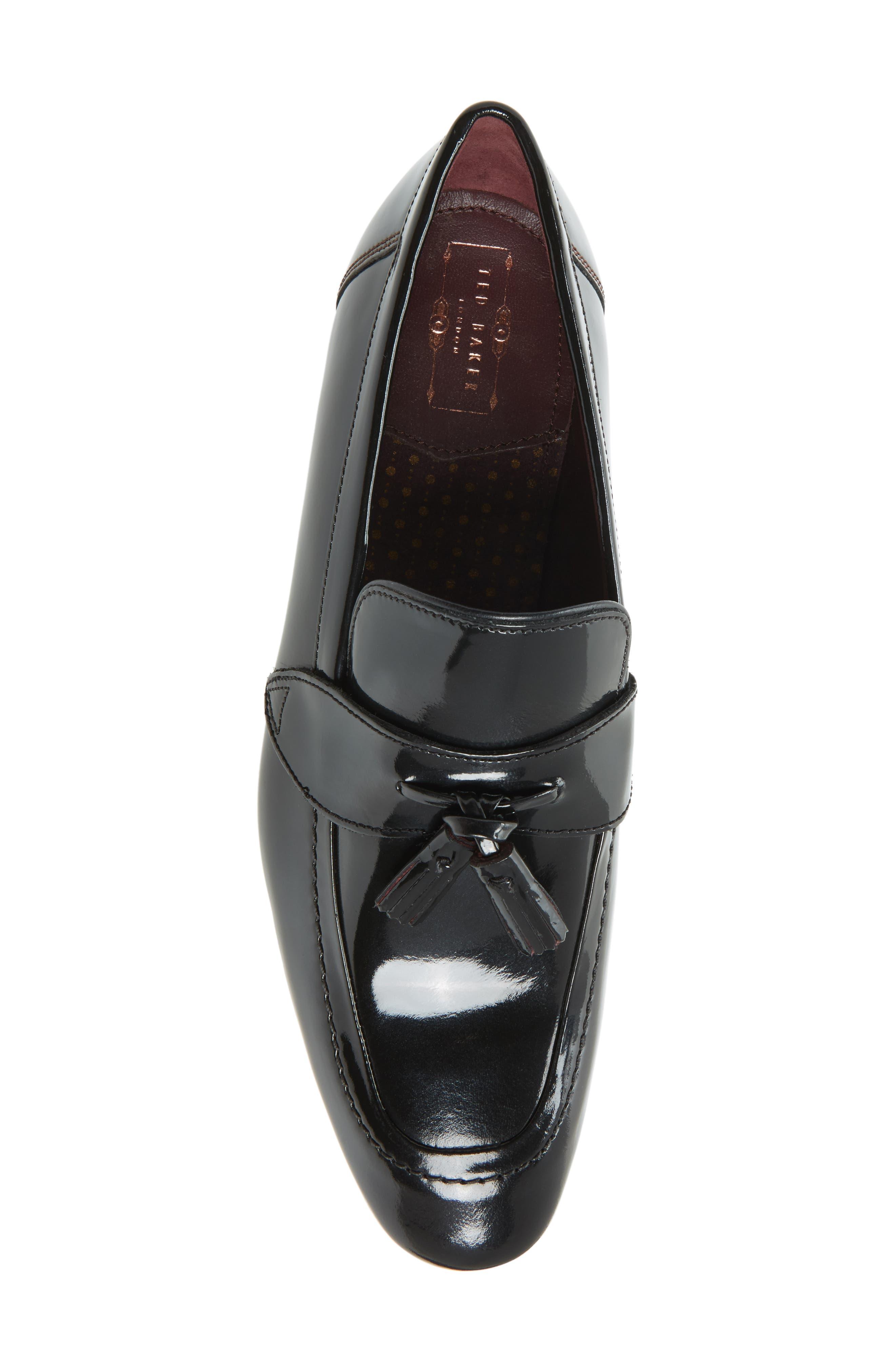 Grafit Tassel Loafer,                             Alternate thumbnail 4, color,                             Black Patent Leather