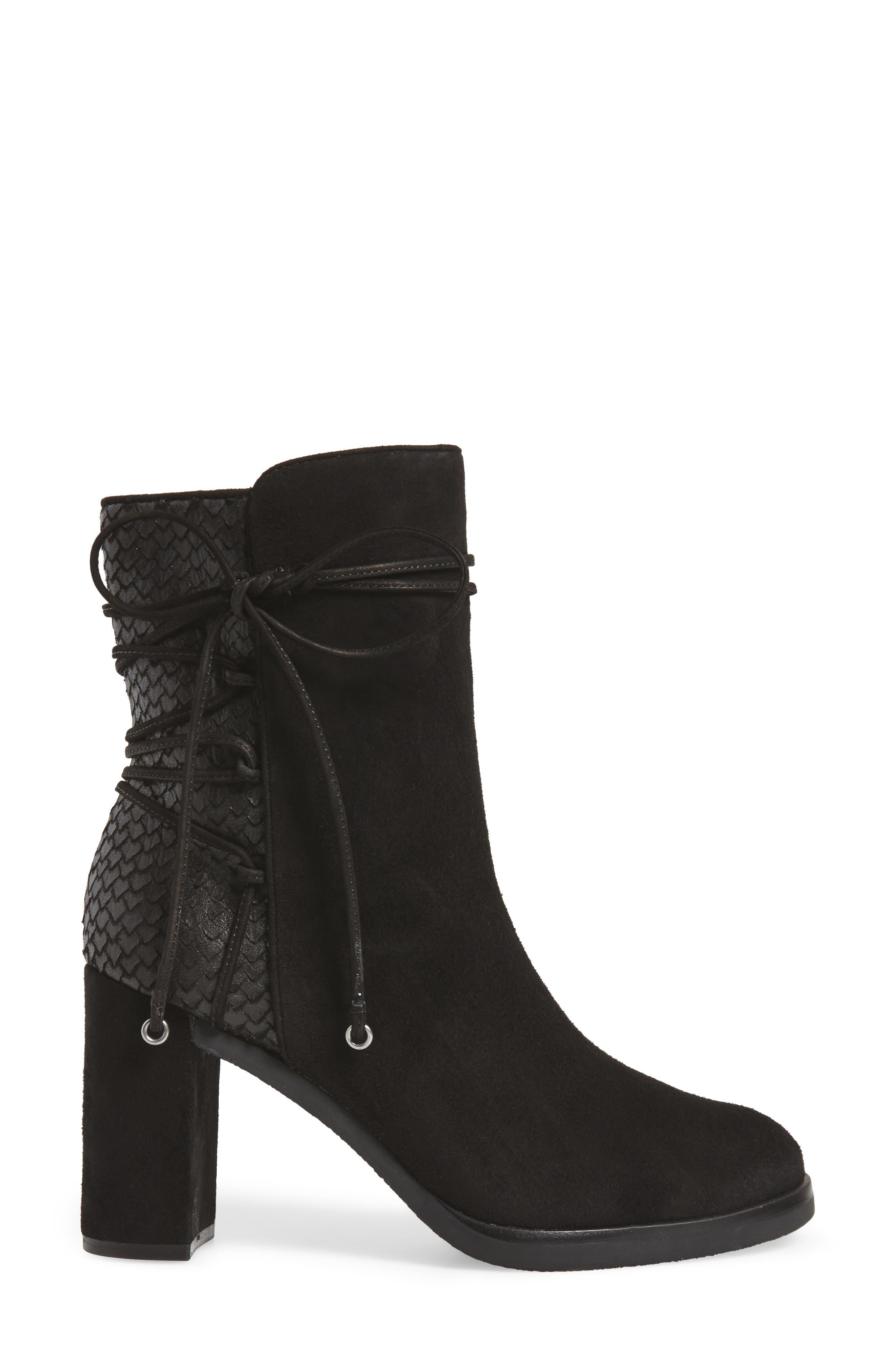 Adley Ankle Wrap Boot,                             Alternate thumbnail 3, color,                             Black Suede