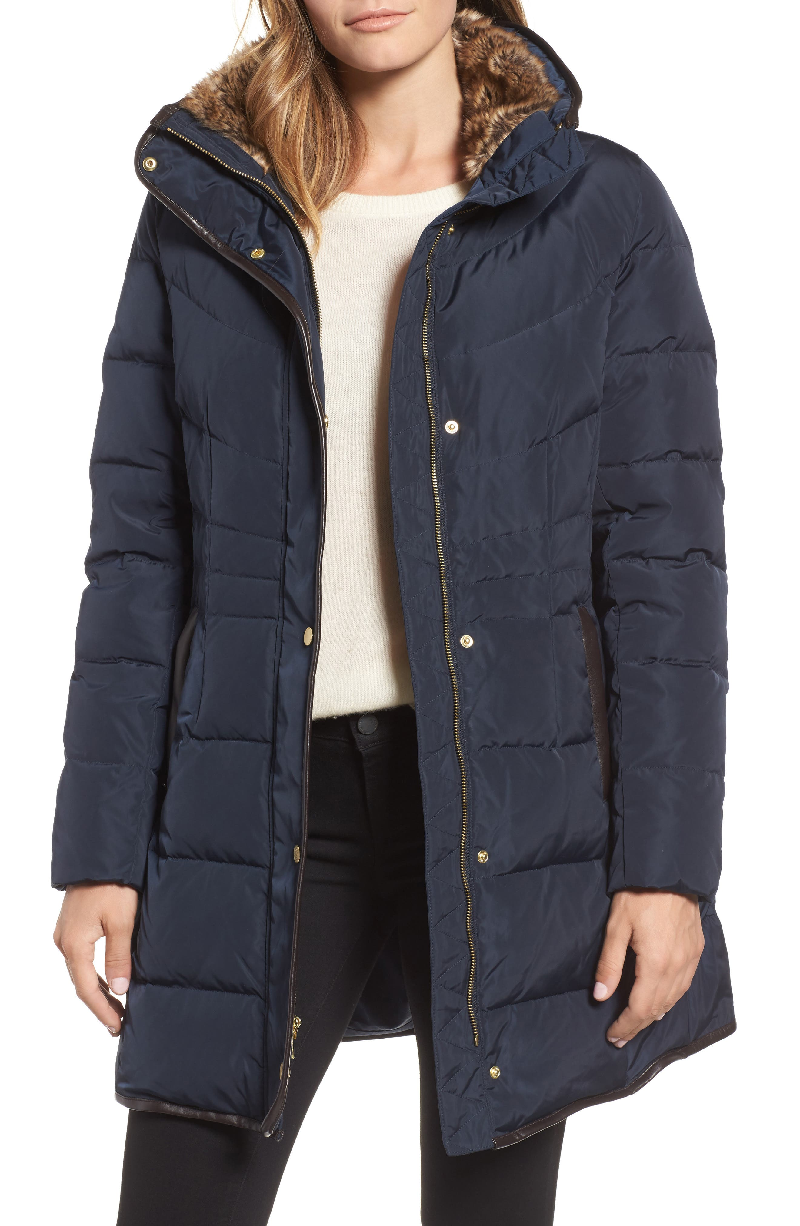 Cole Haan Quilted Down & Feather Fill Jacket with Faux Fur Trim,                         Main,                         color, Navy