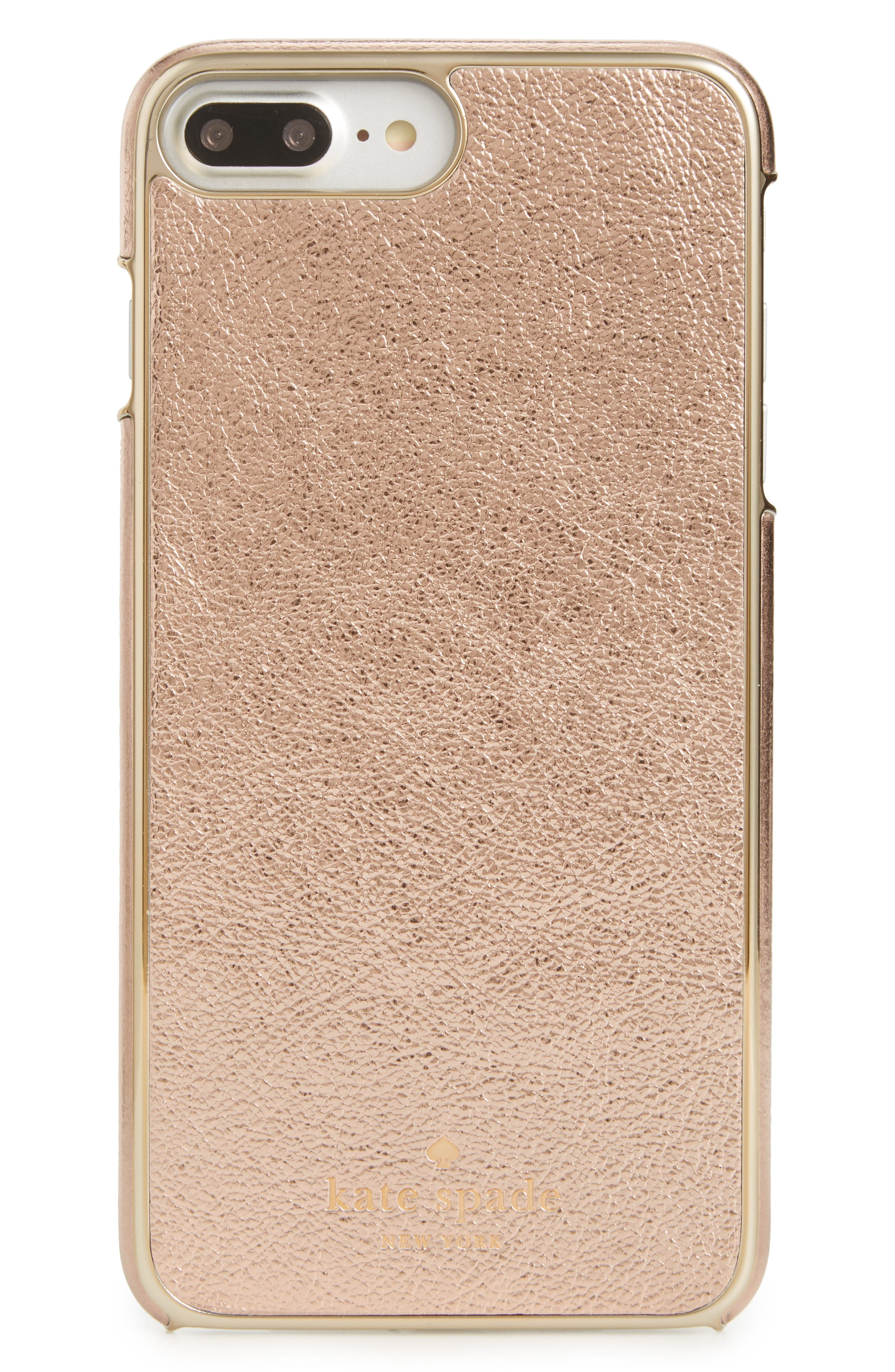 metallic leather iPhone 7/8 Plus case,                         Main,                         color, Soft Rose Gold