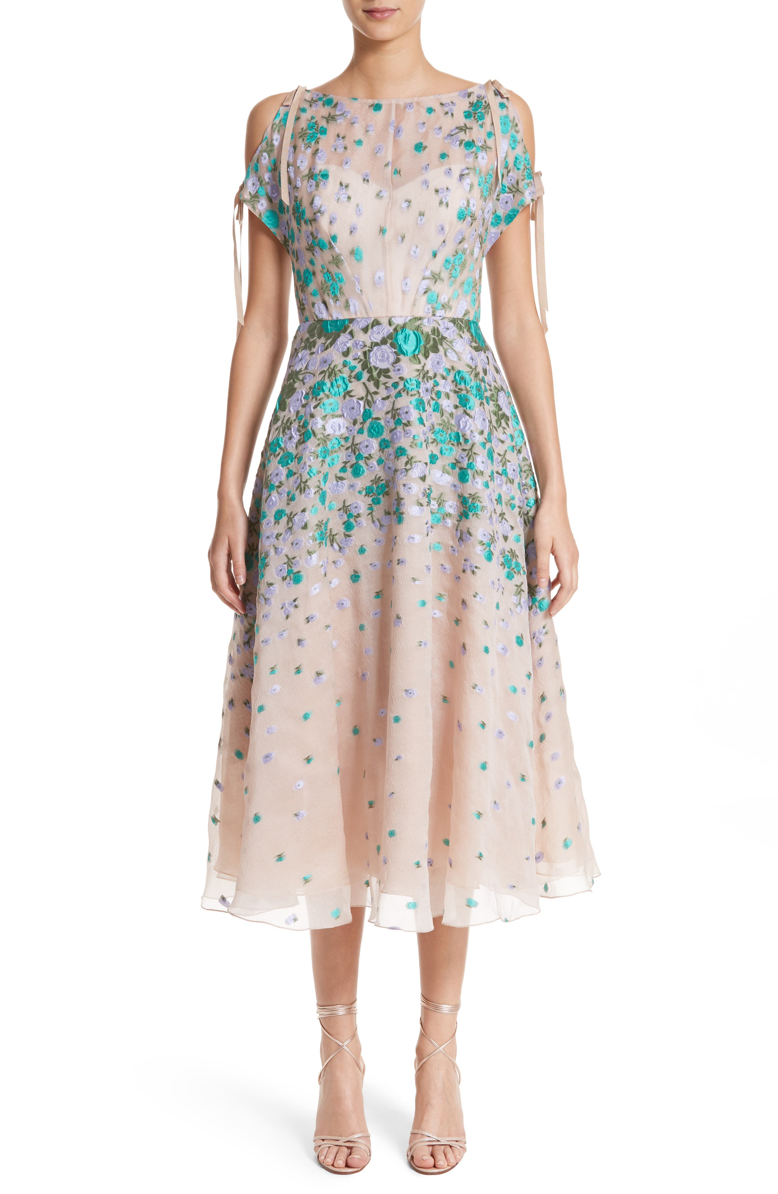 Main Image - Lela Rose Floral Matelassé Cold Shoulder Dress