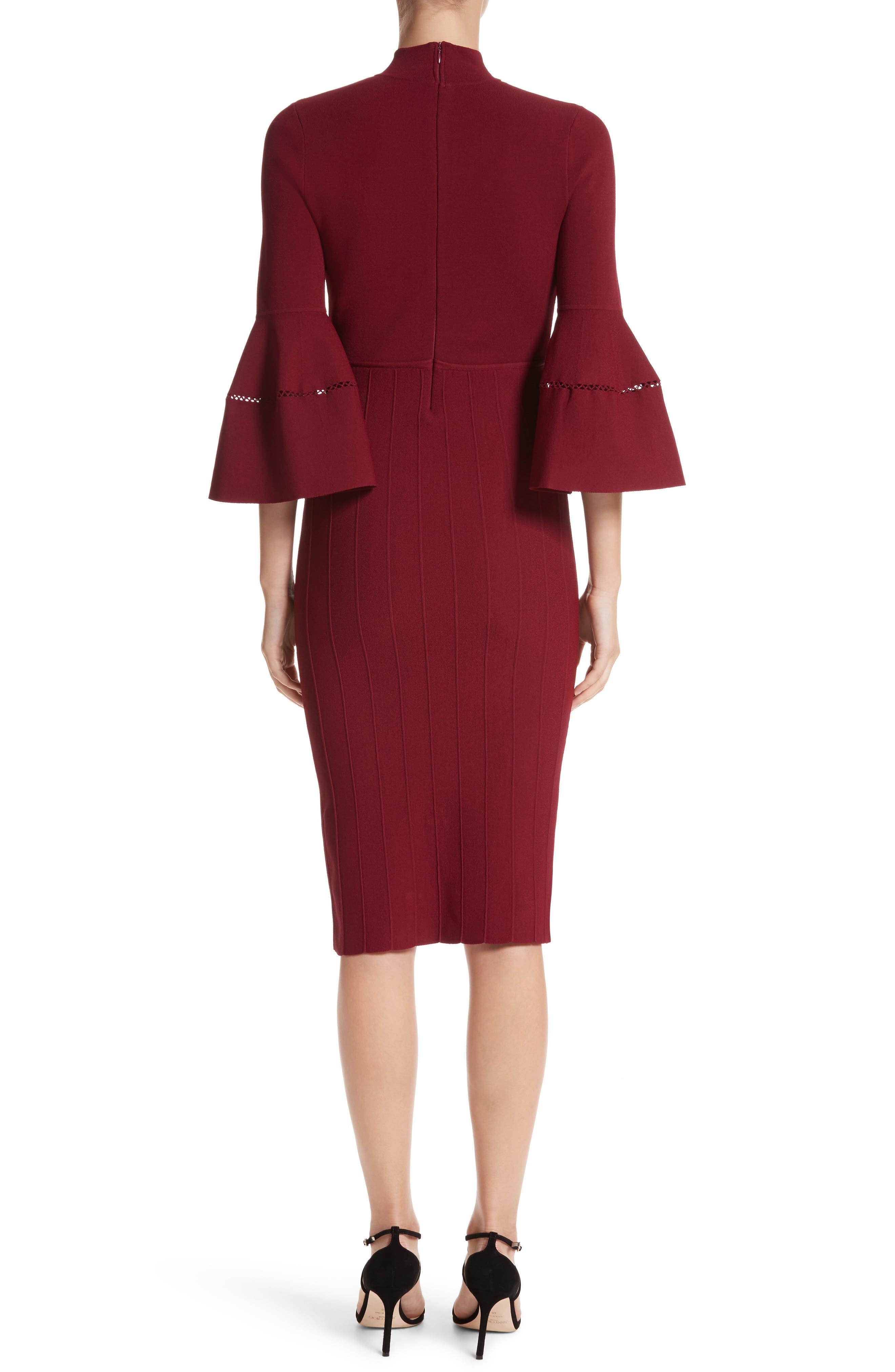 Alternate Image 2  - Lela Rose Knit Bell Sleeve Dress