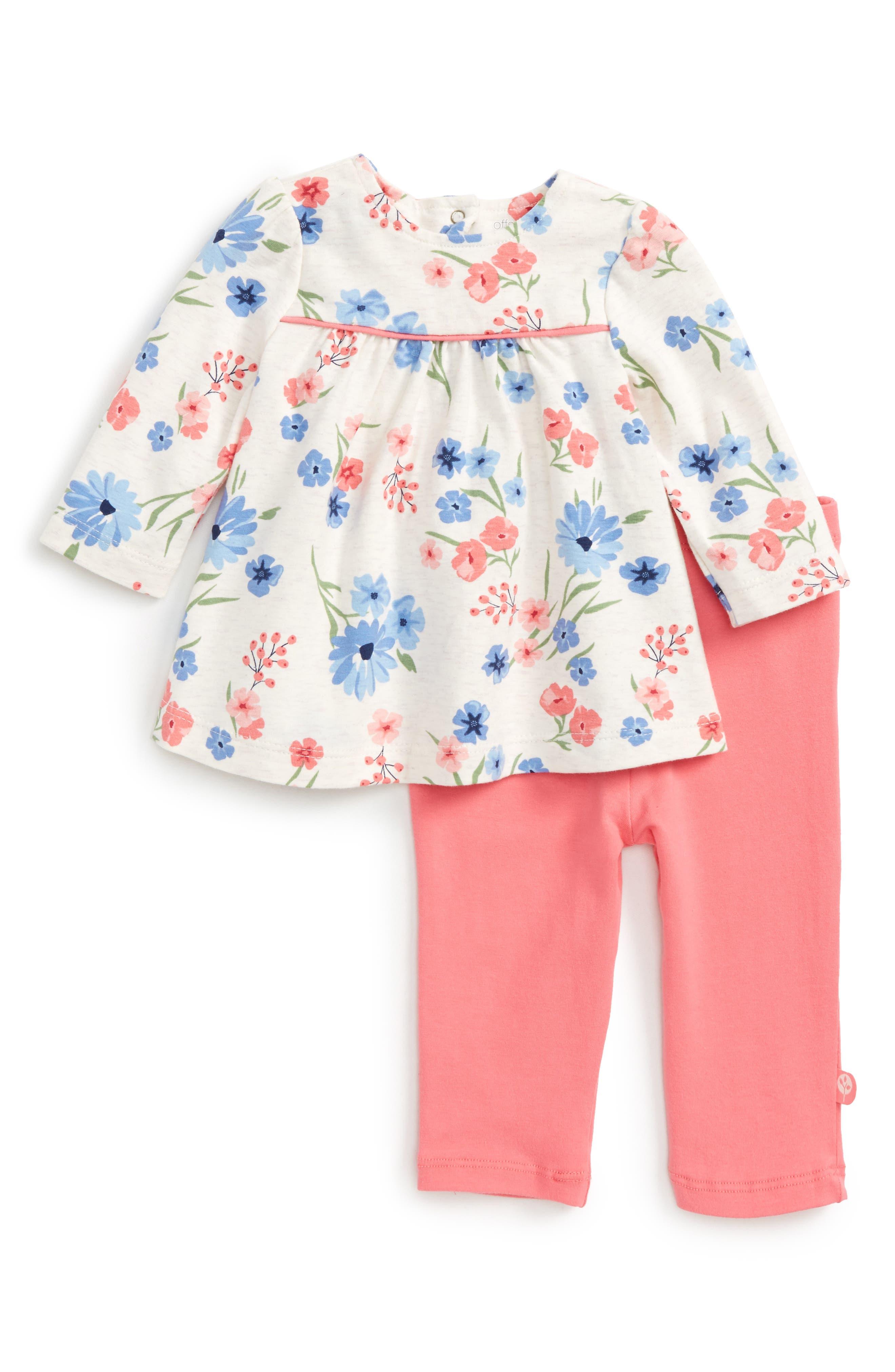 Main Image - Offspring Flower Tunic & Leggings Set (Baby Girls)
