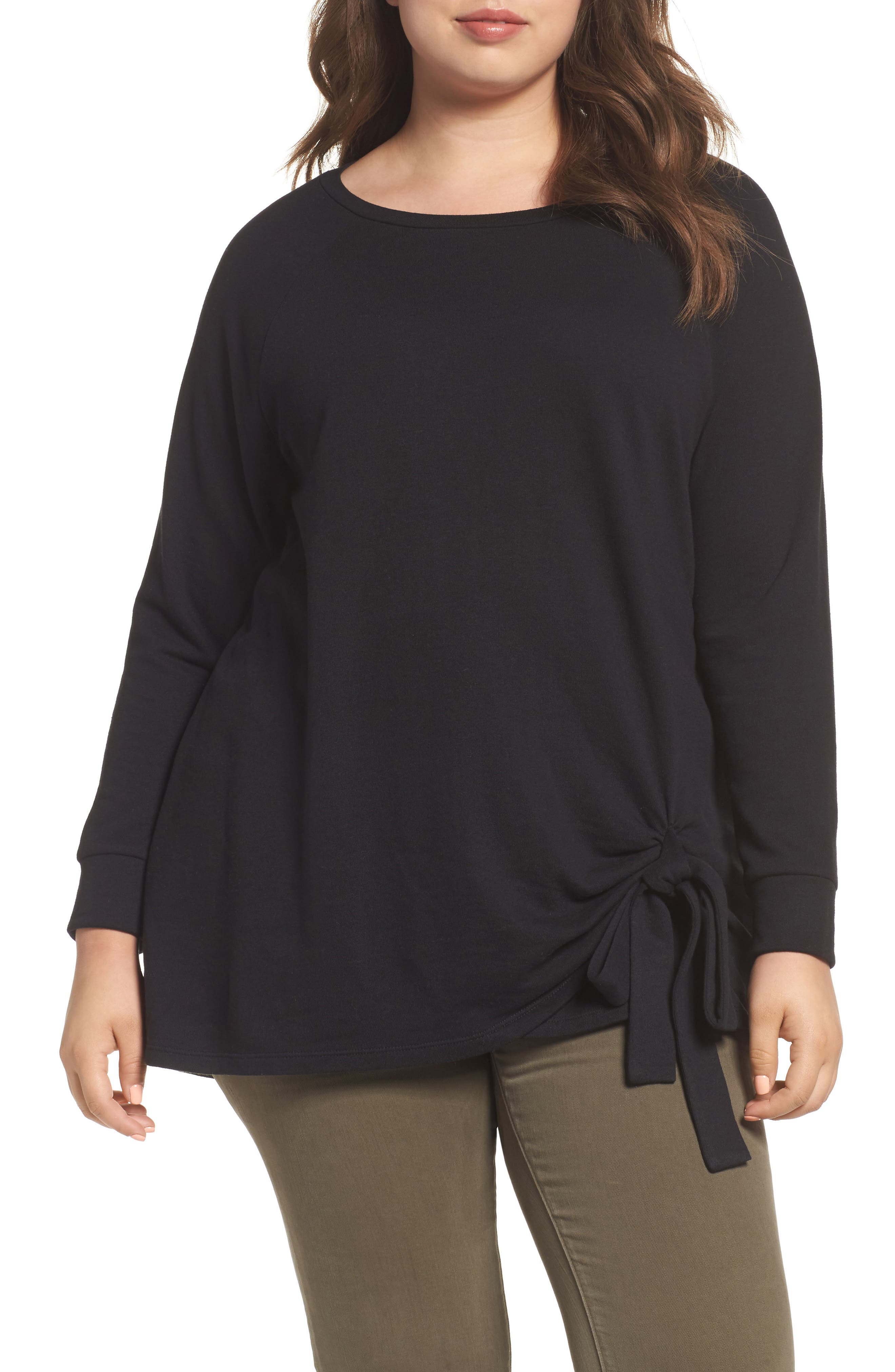 Alternate Image 1 Selected - Caslon® Tie Knot Sweatshirt (Plus Size)