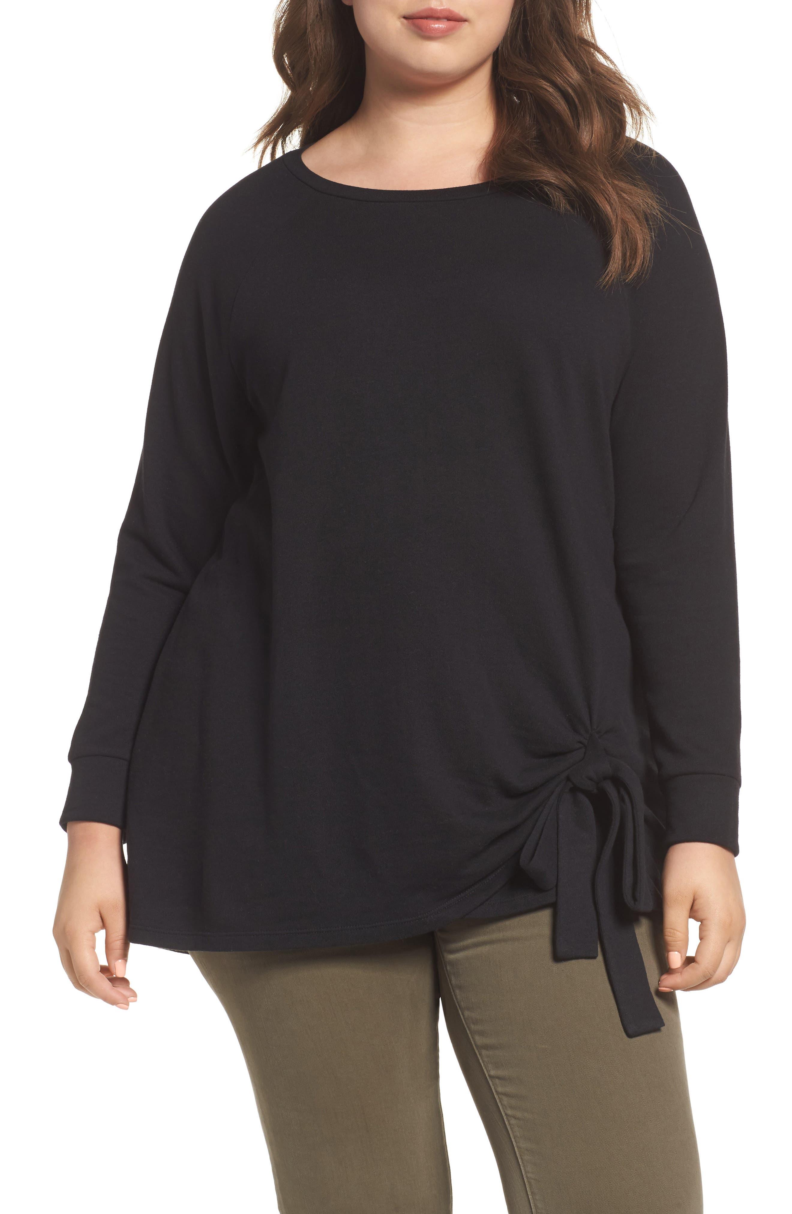 Tie Knot Sweatshirt,                         Main,                         color, Black
