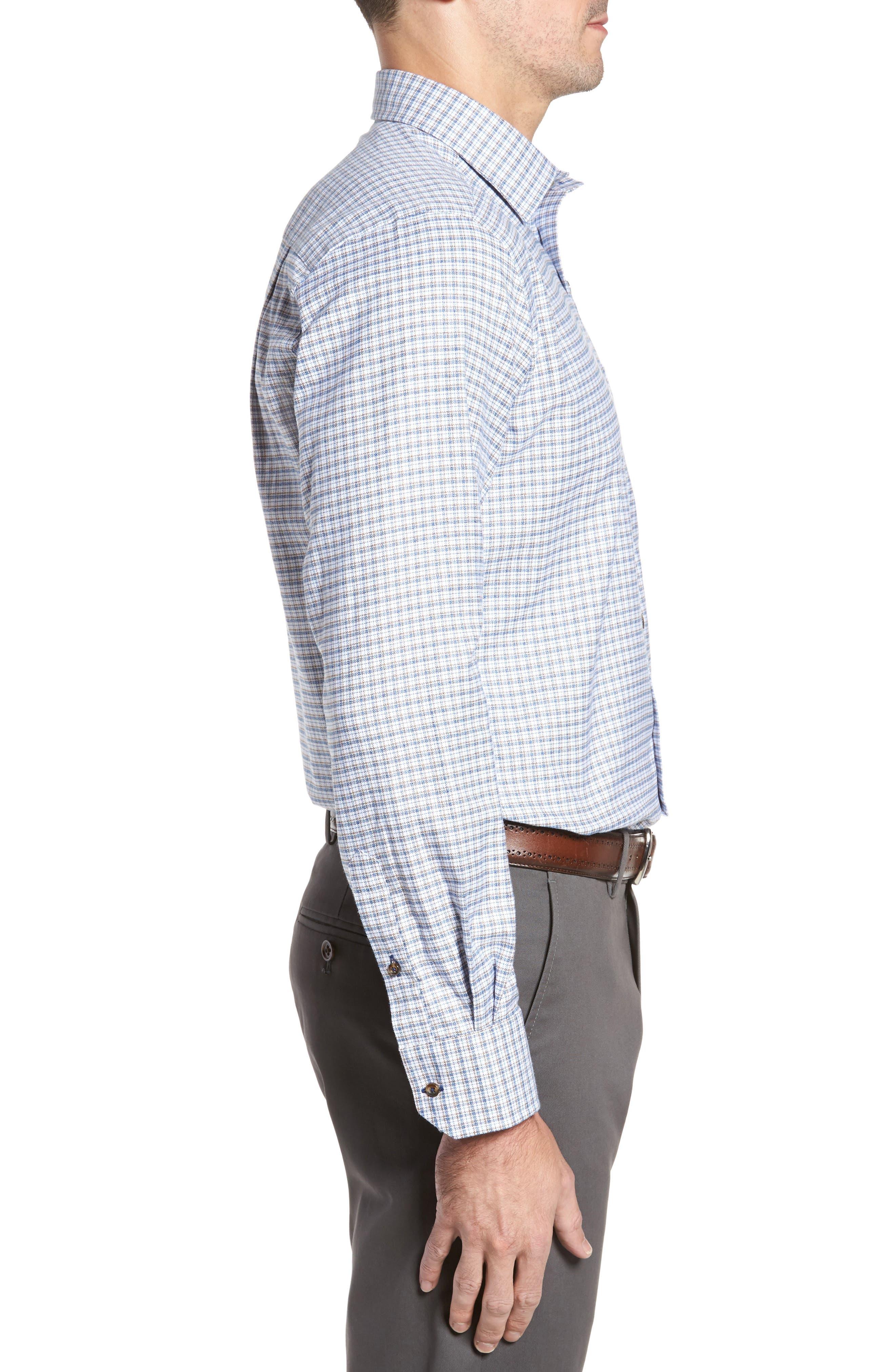 Regular Fit Plaid Sport Shirt,                             Alternate thumbnail 3, color,                             Blue