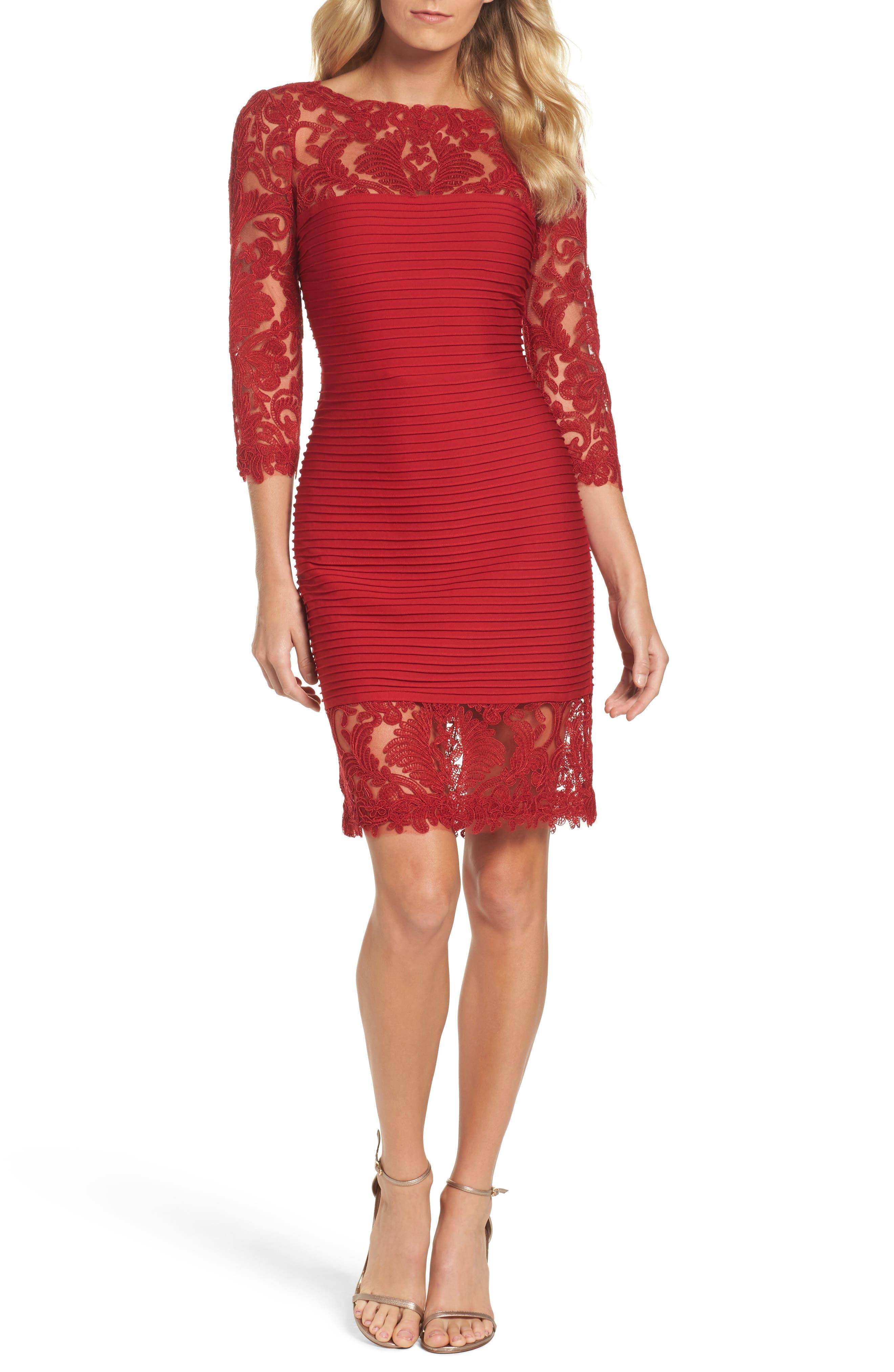 Illusion Pintuck Sheath Dress,                         Main,                         color, Deep Red