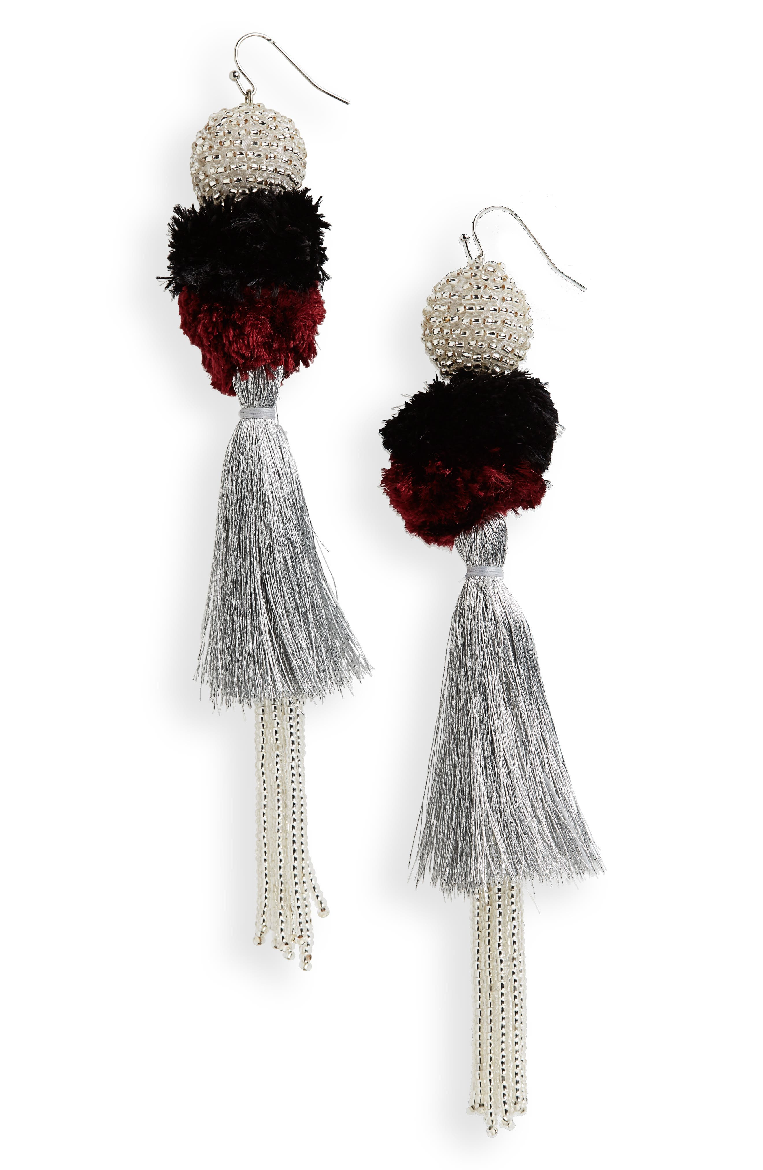 Tiered Tassel Earrings,                         Main,                         color, Currant/ Silver