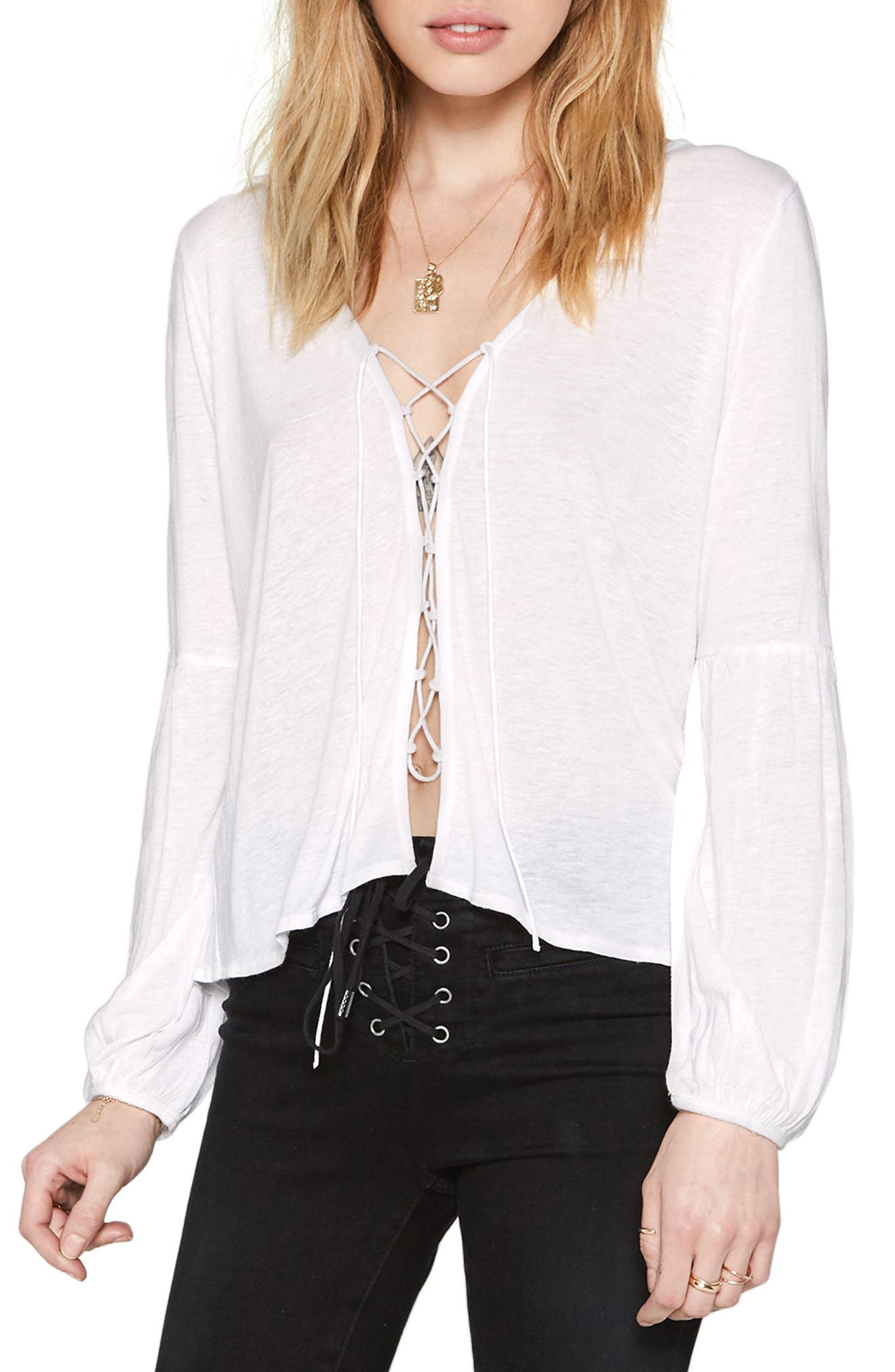Spencer Lace-Up Top,                         Main,                         color, White