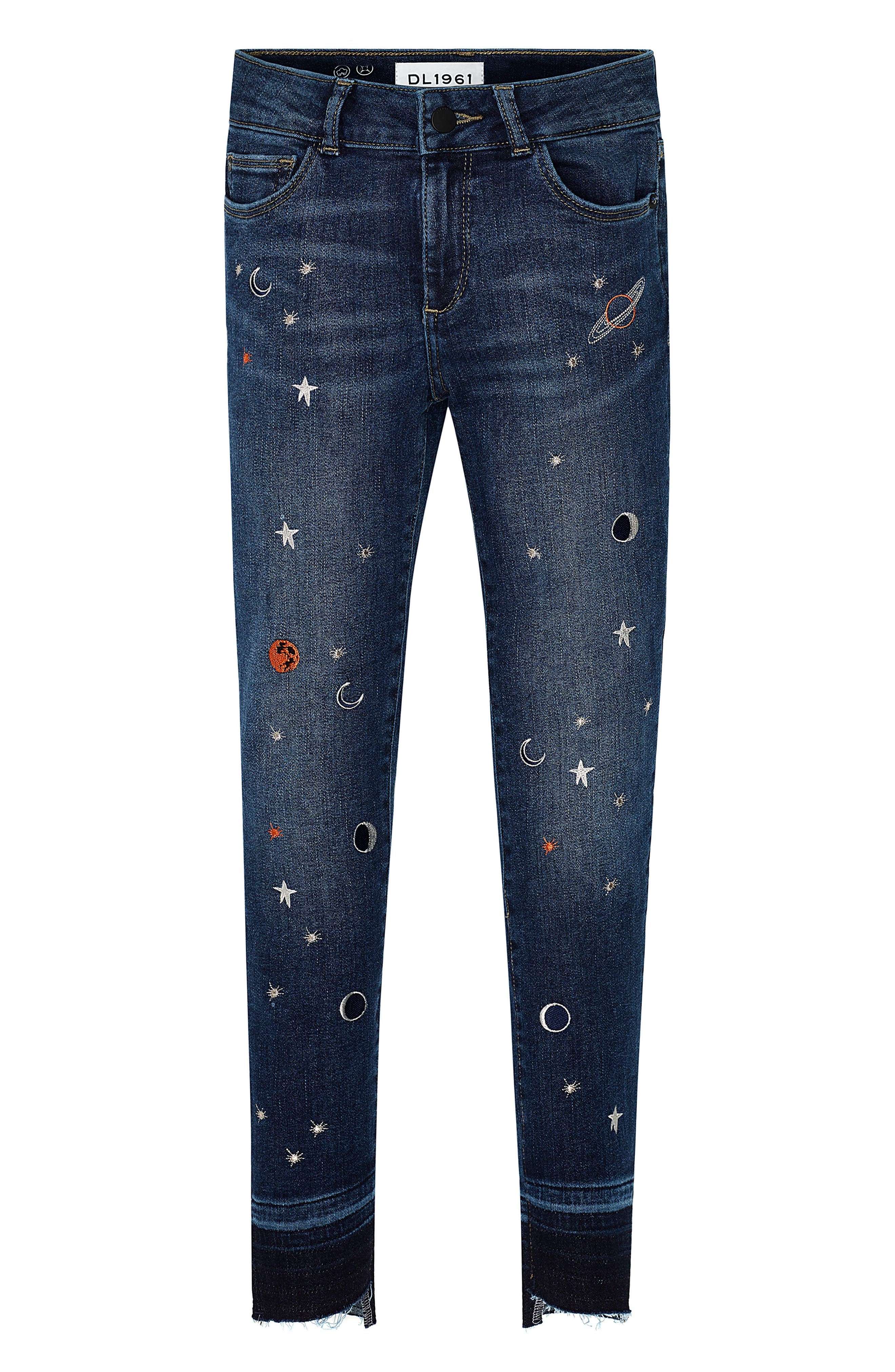 Alternate Image 1 Selected - DL1961 Chloe Galaxy Embroidered Skinny Jeans (Big Girls)