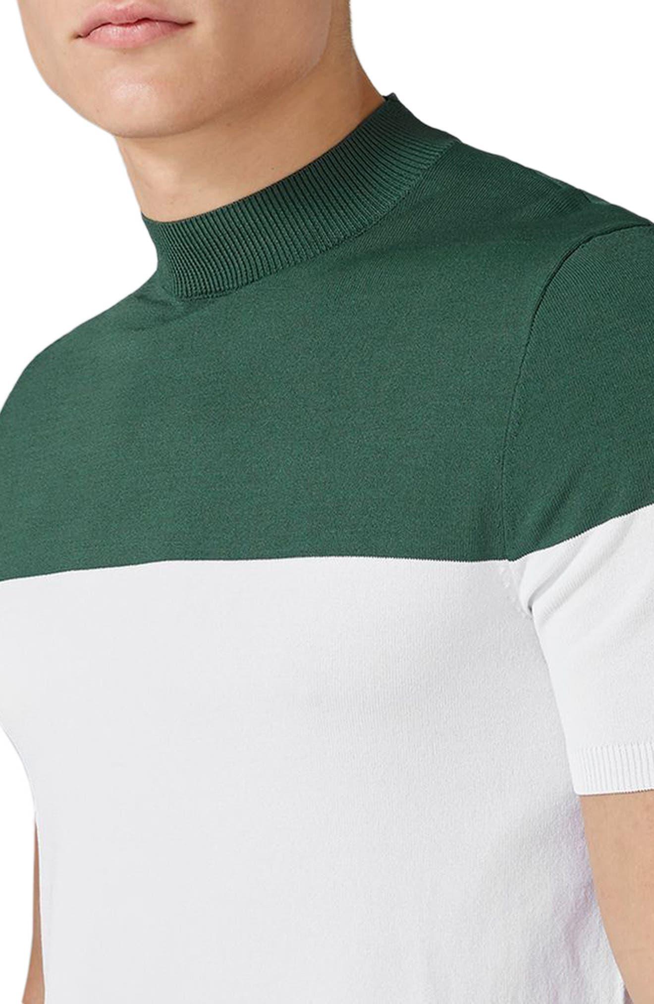 Colorblock Mock Neck Sweater,                             Alternate thumbnail 3, color,                             Green Multi