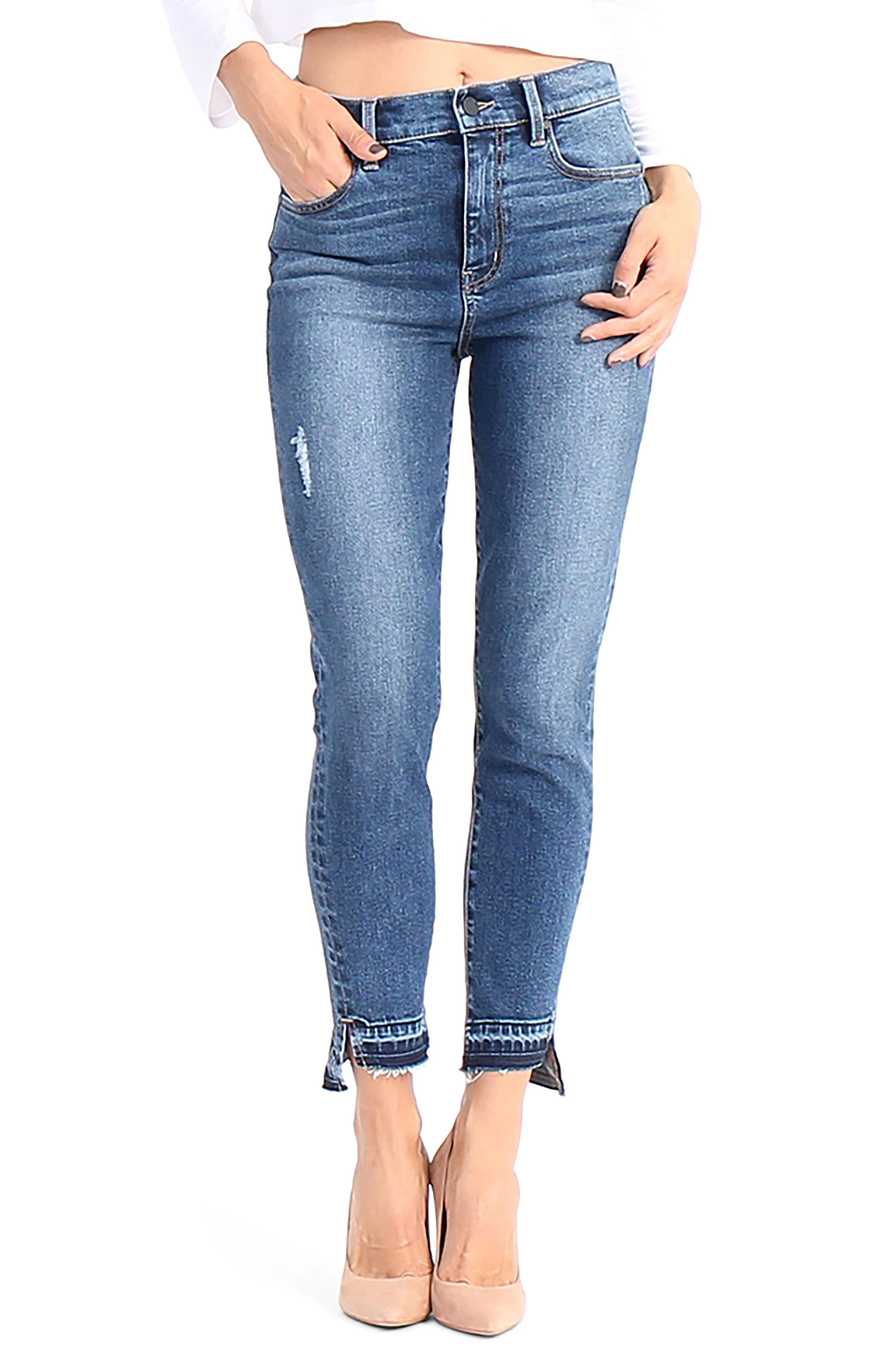 Elle Uneven Hem Skinny Jeans,                             Main thumbnail 1, color,                             After Glow