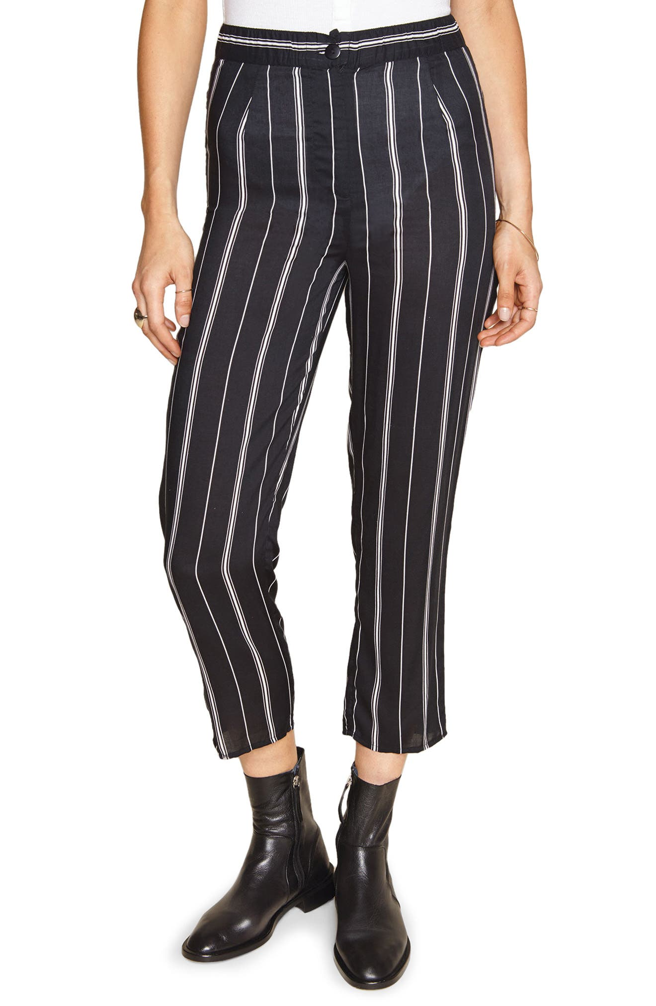 Mirabel Stripe Crop Pants,                             Main thumbnail 1, color,                             Black