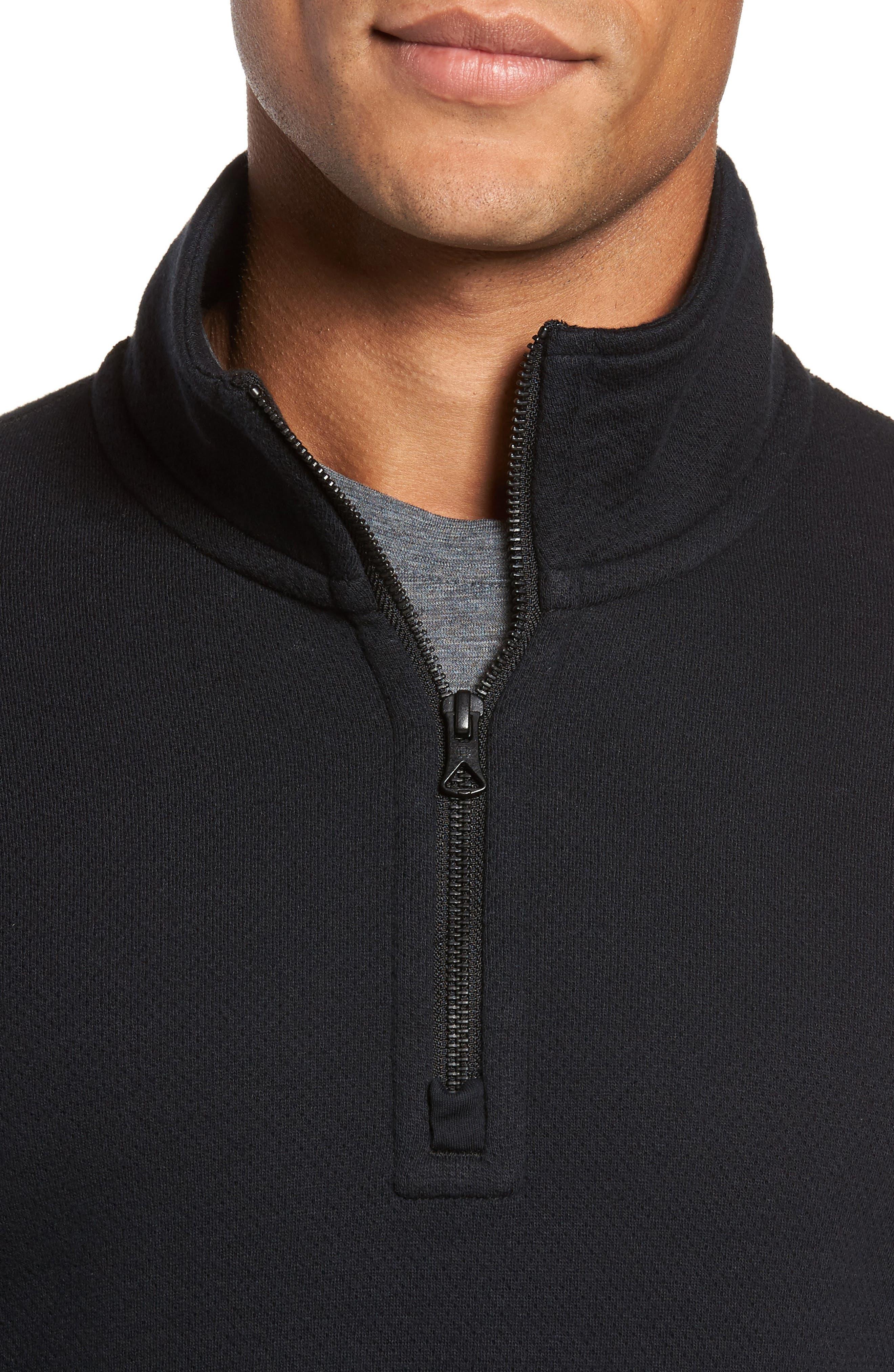 Mesh Half Zip Fleece Top,                             Alternate thumbnail 4, color,                             Black