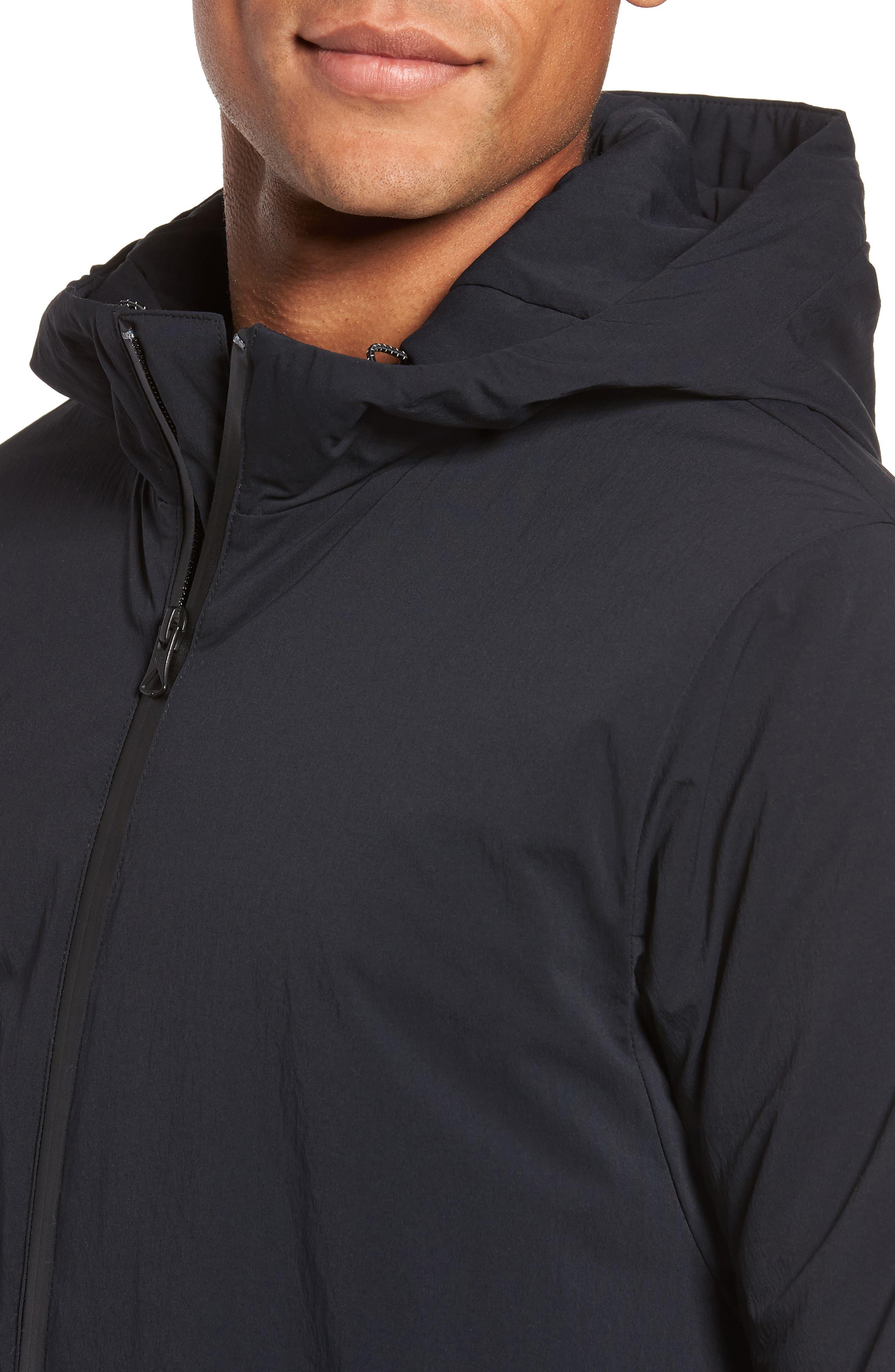 Insulated Trim Sideline Jacket,                             Alternate thumbnail 4, color,                             Black
