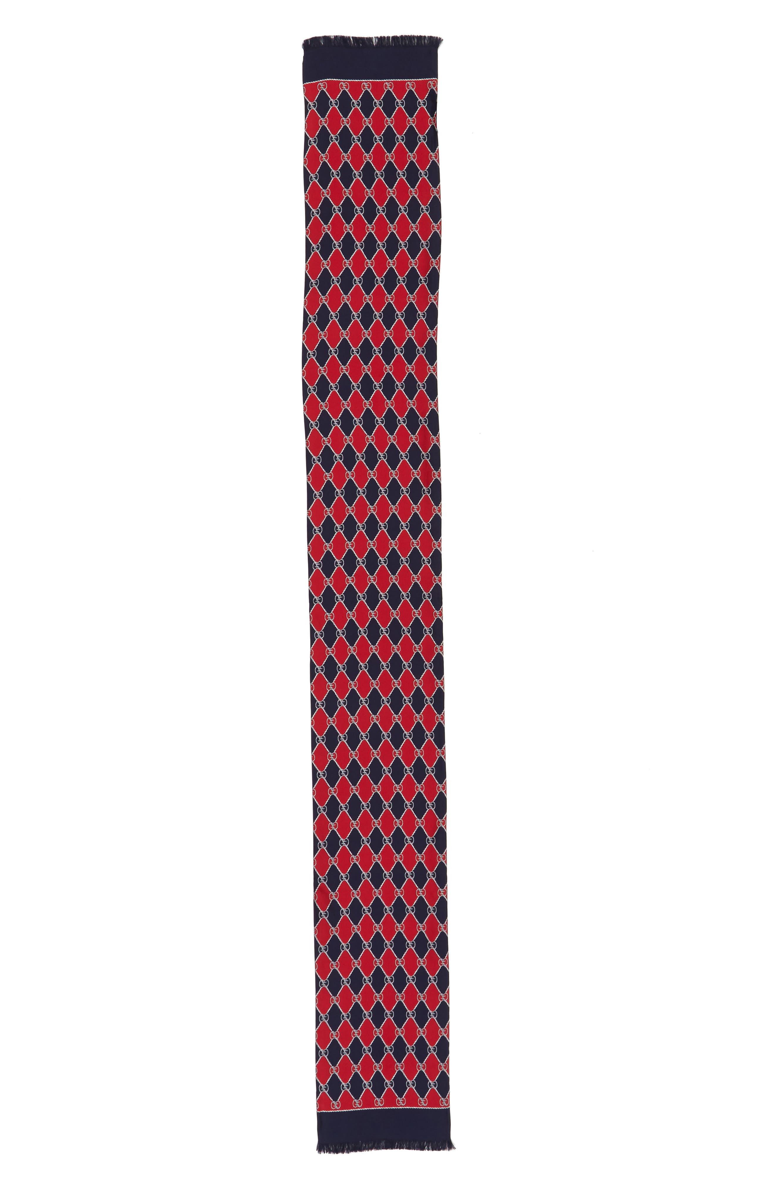 Gucci GG Rhombus Skinny Silk Scarf