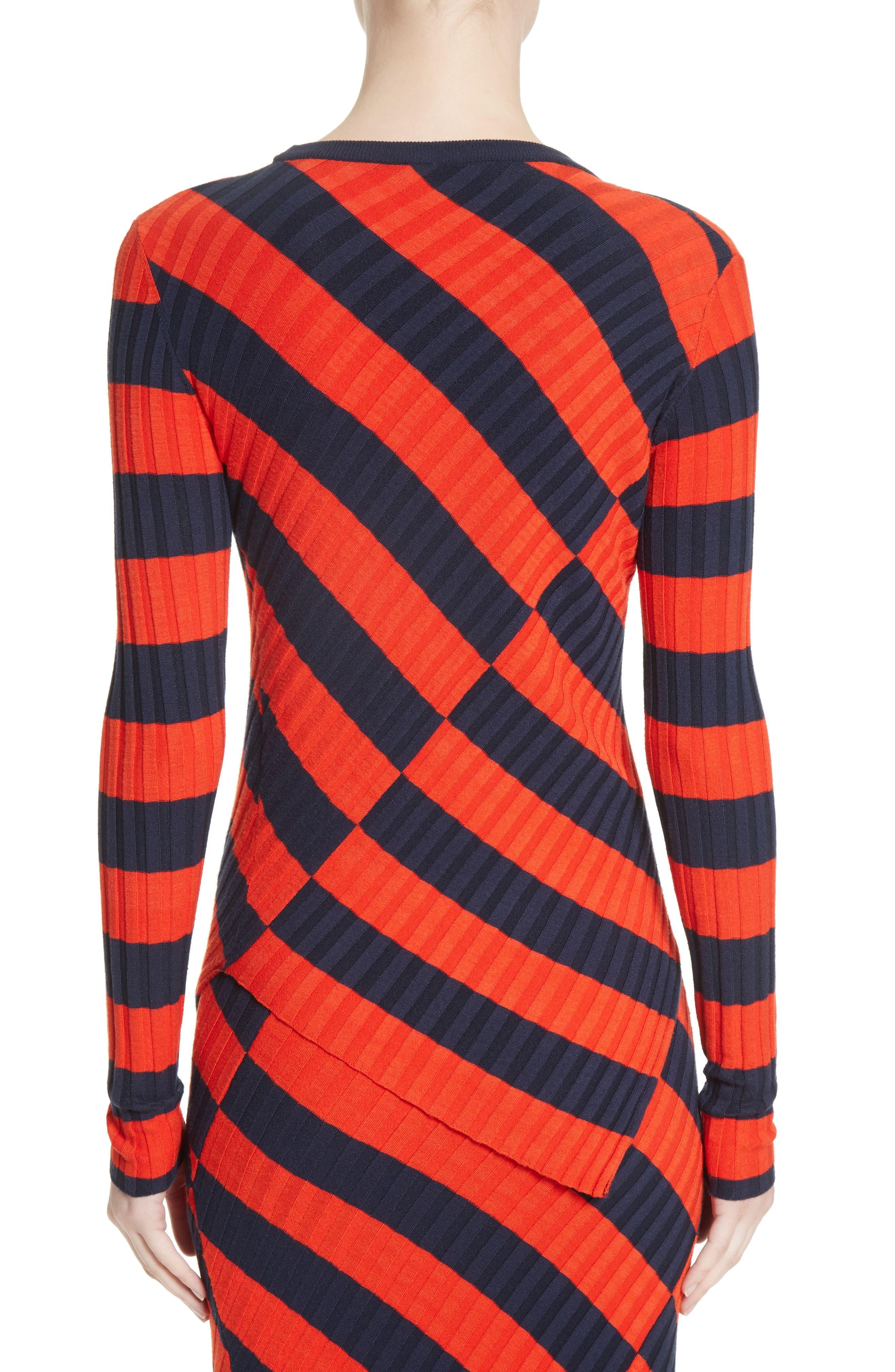 Asymmetrical Stripe Sweater,                             Alternate thumbnail 2, color,                             Persimmon