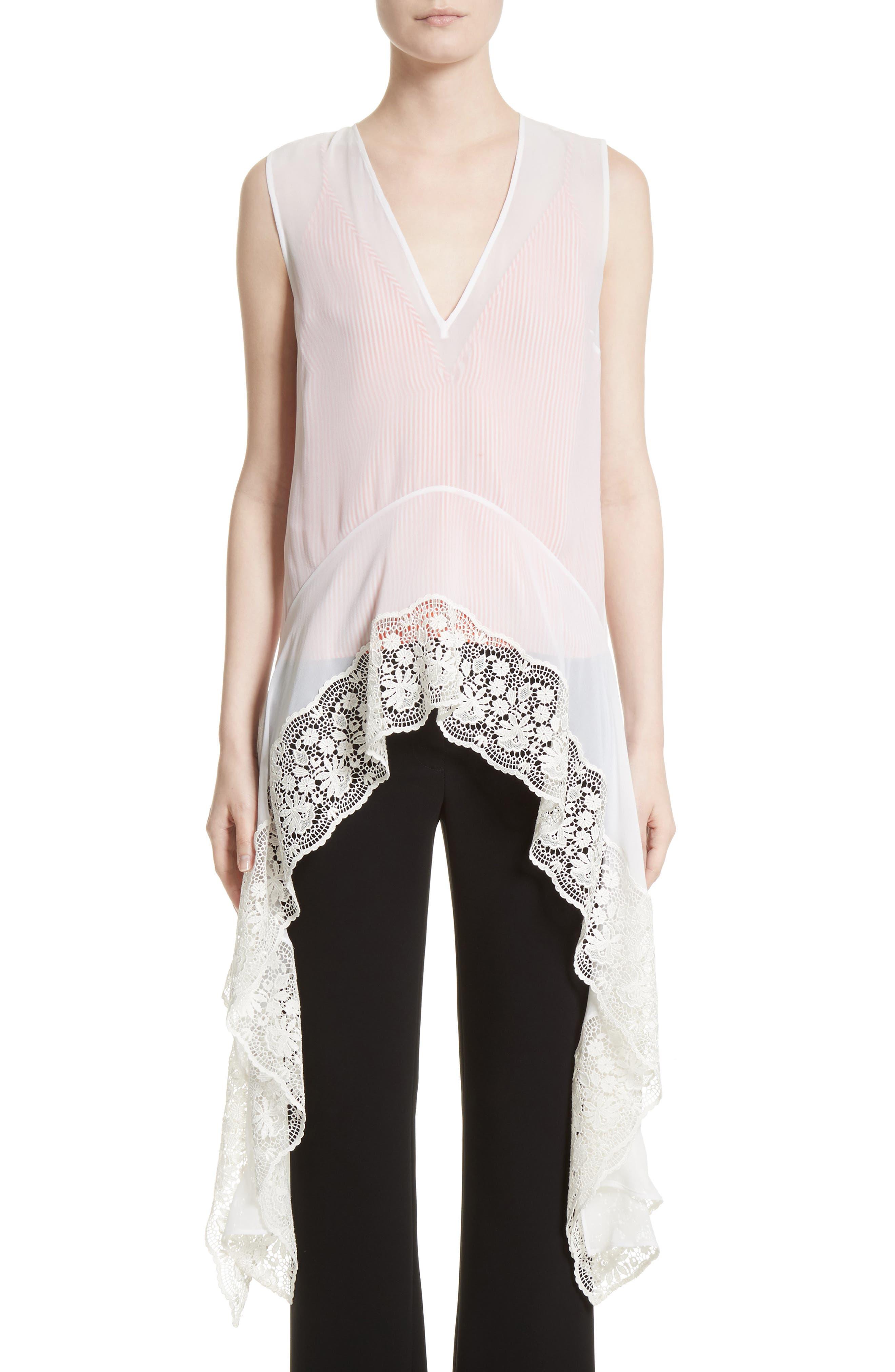 Lace Trim Silk Blouse,                         Main,                         color, Natural White