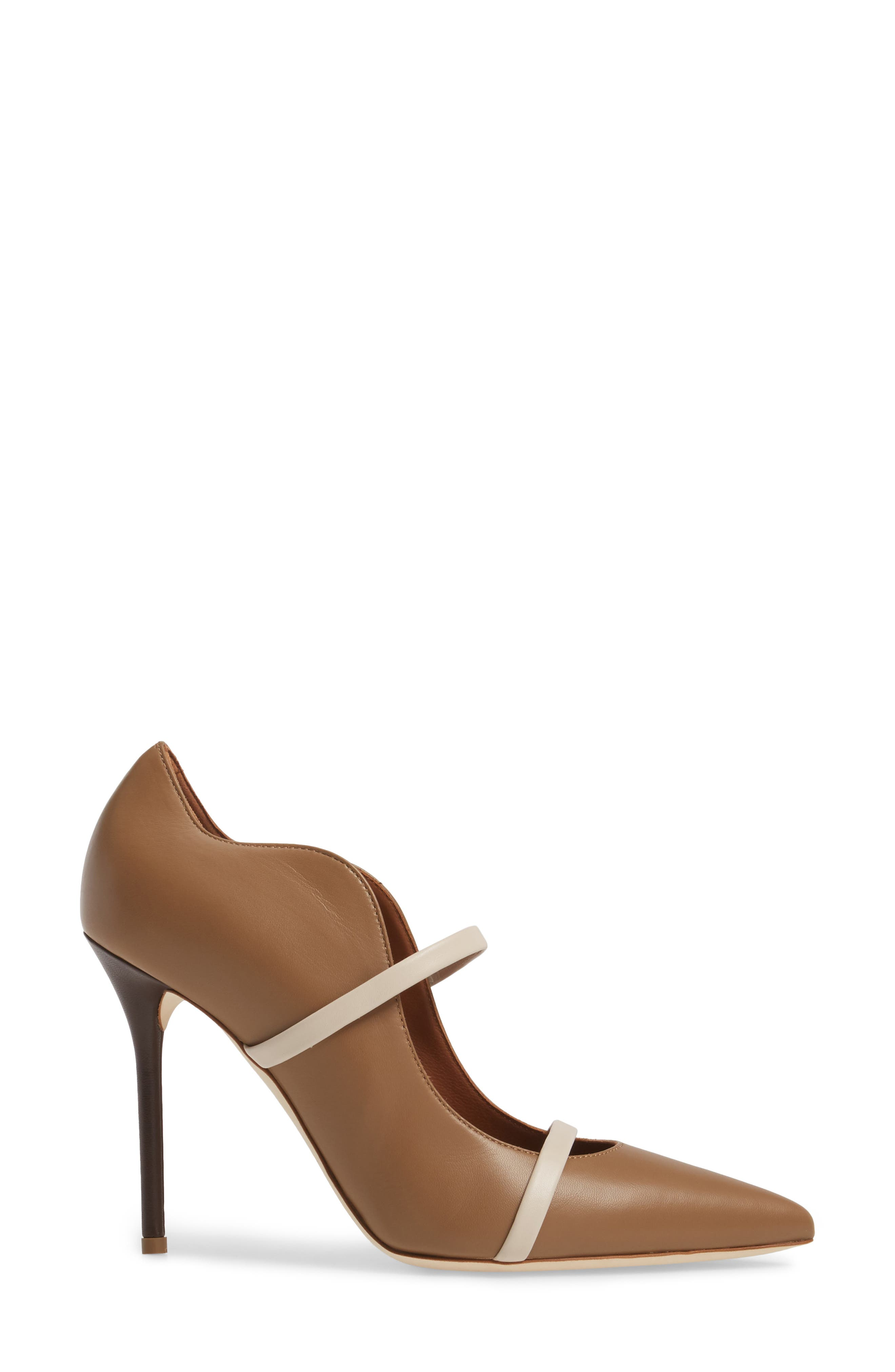 Maureen Double Band Pump,                             Alternate thumbnail 3, color,                             Chocolate/ White Leather