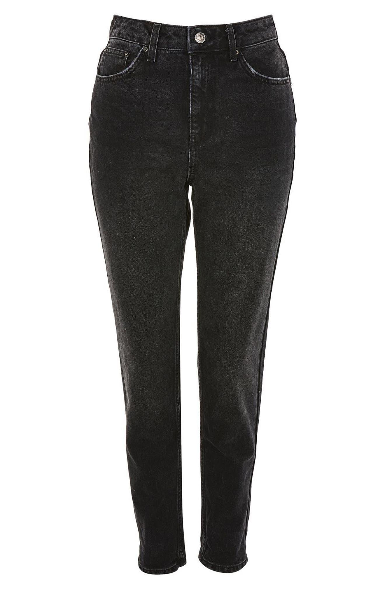 Mom Jeans,                             Alternate thumbnail 4, color,                             Washed Black