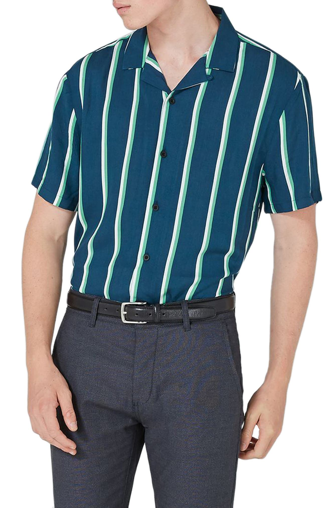 Alternate Image 3  - Topman Stripe Revere Collar Shirt