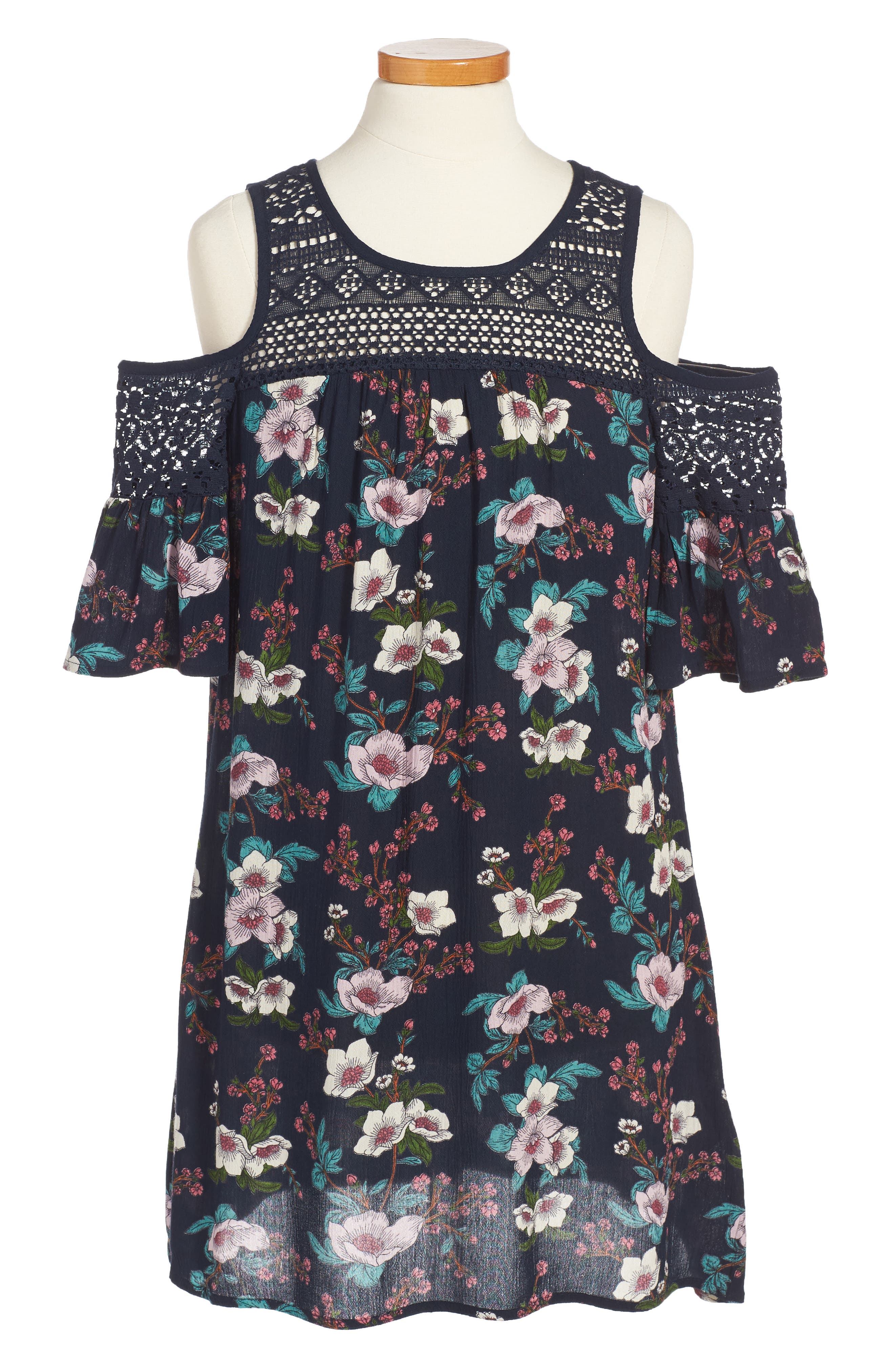 Zoe & Rose Crochet Inset Floral Dress,                             Main thumbnail 1, color,                             Navy/ Rose