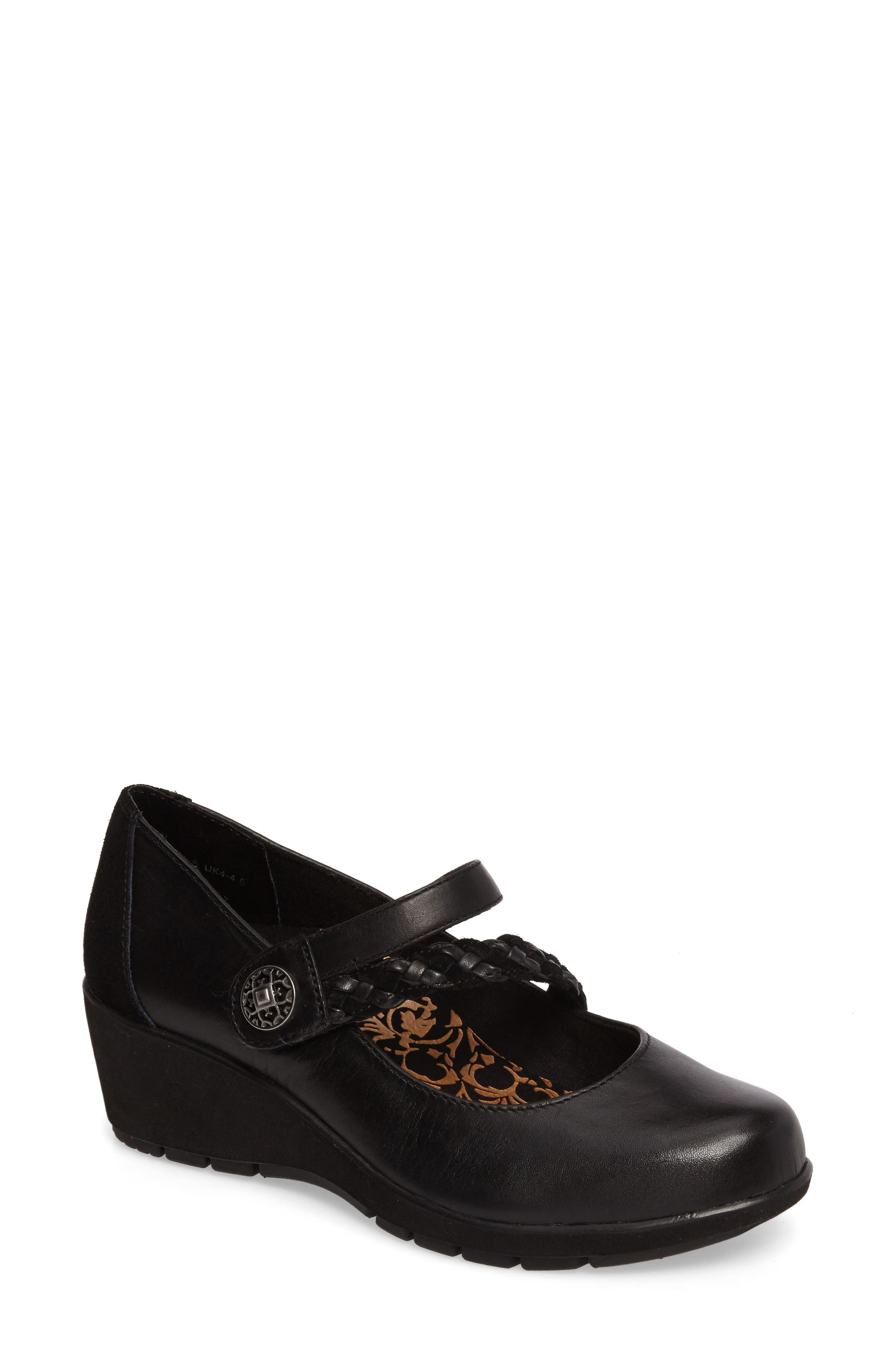 Ivy Mary Jane Wedge,                             Main thumbnail 1, color,                             Black Leather