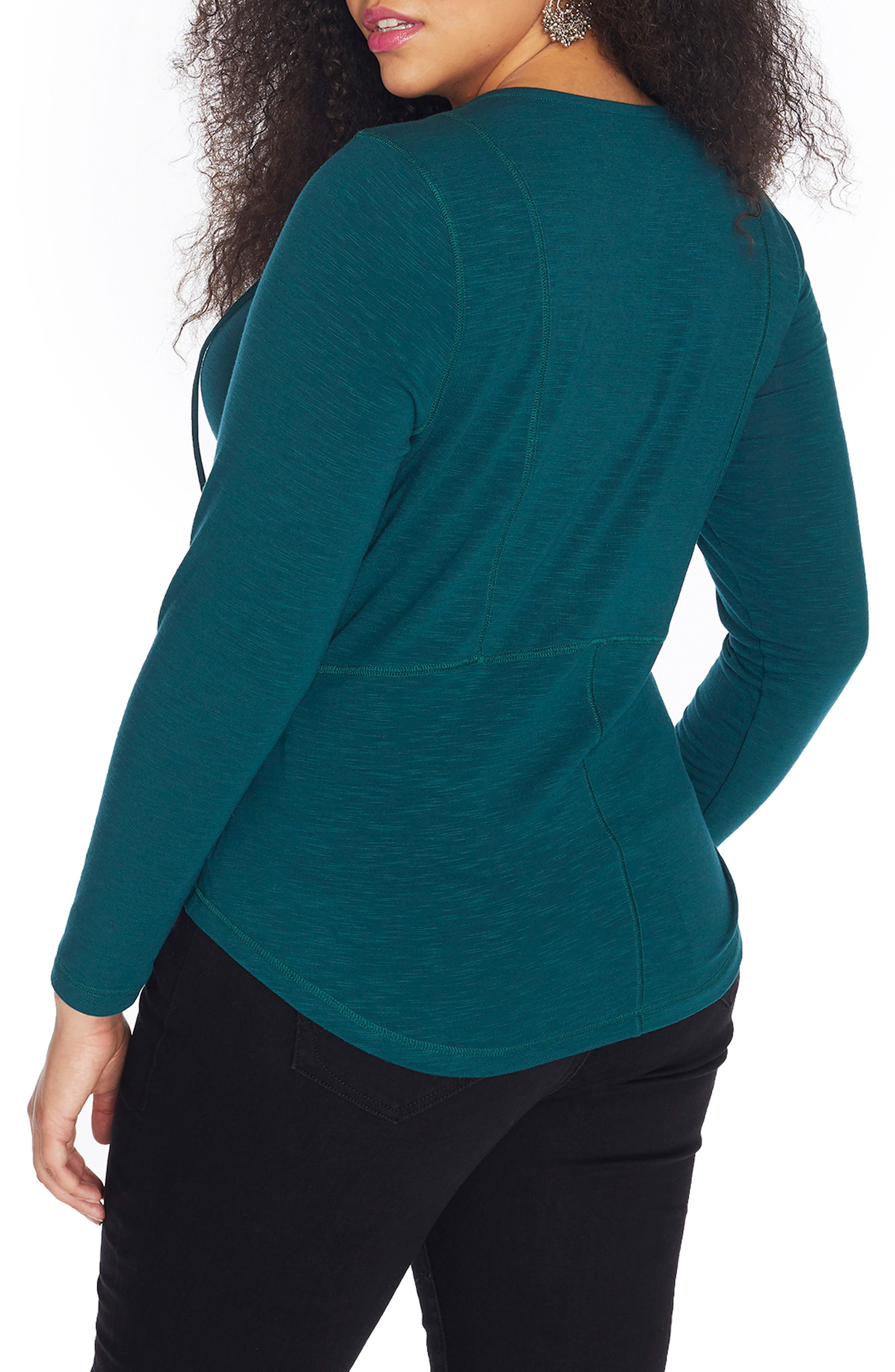 Lace-Up Slub Jersey Top,                             Alternate thumbnail 2, color,                             Sea Moss
