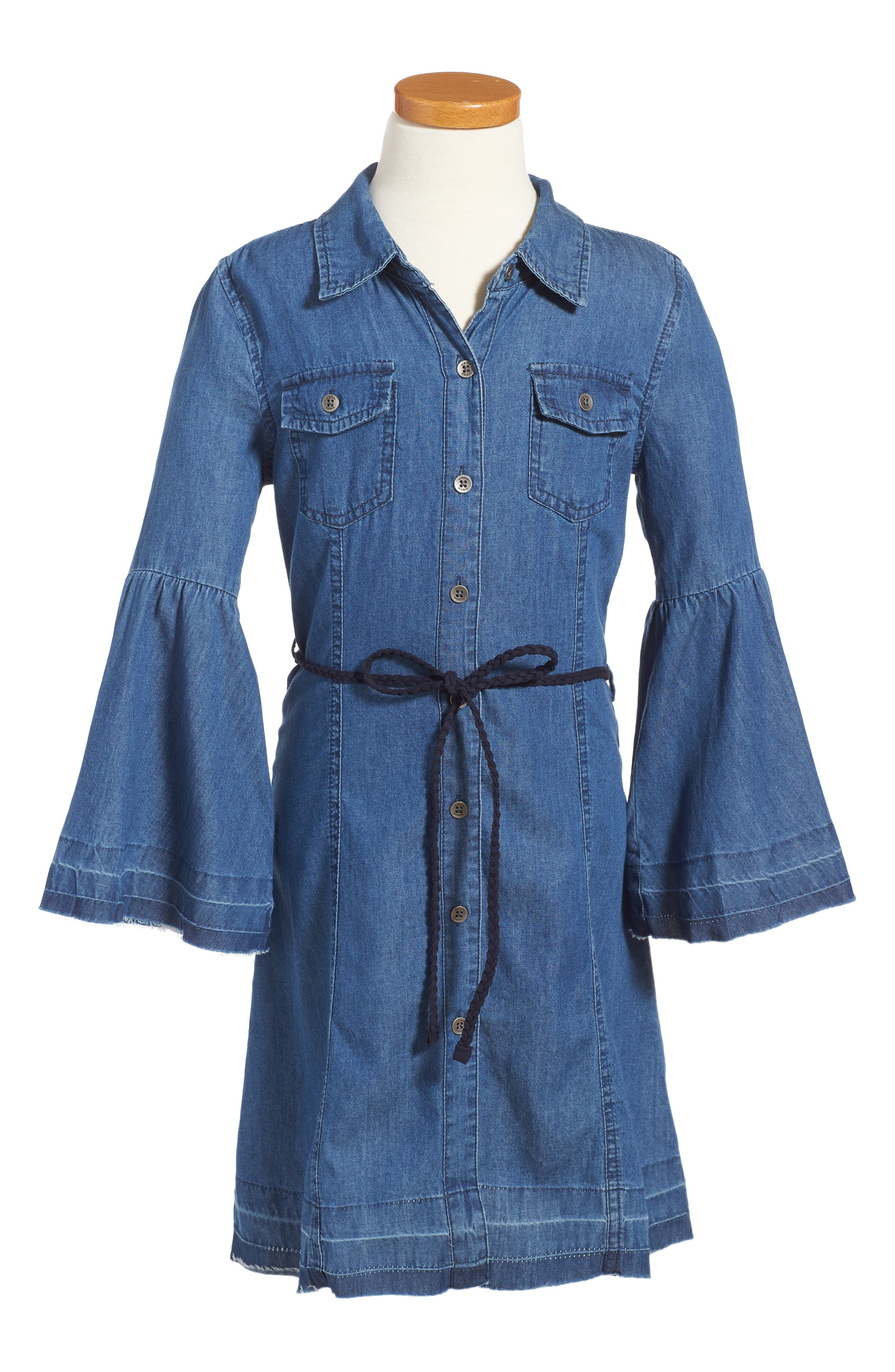 Bell Sleeve Chambray Dress,                             Main thumbnail 1, color,                             Med Stone