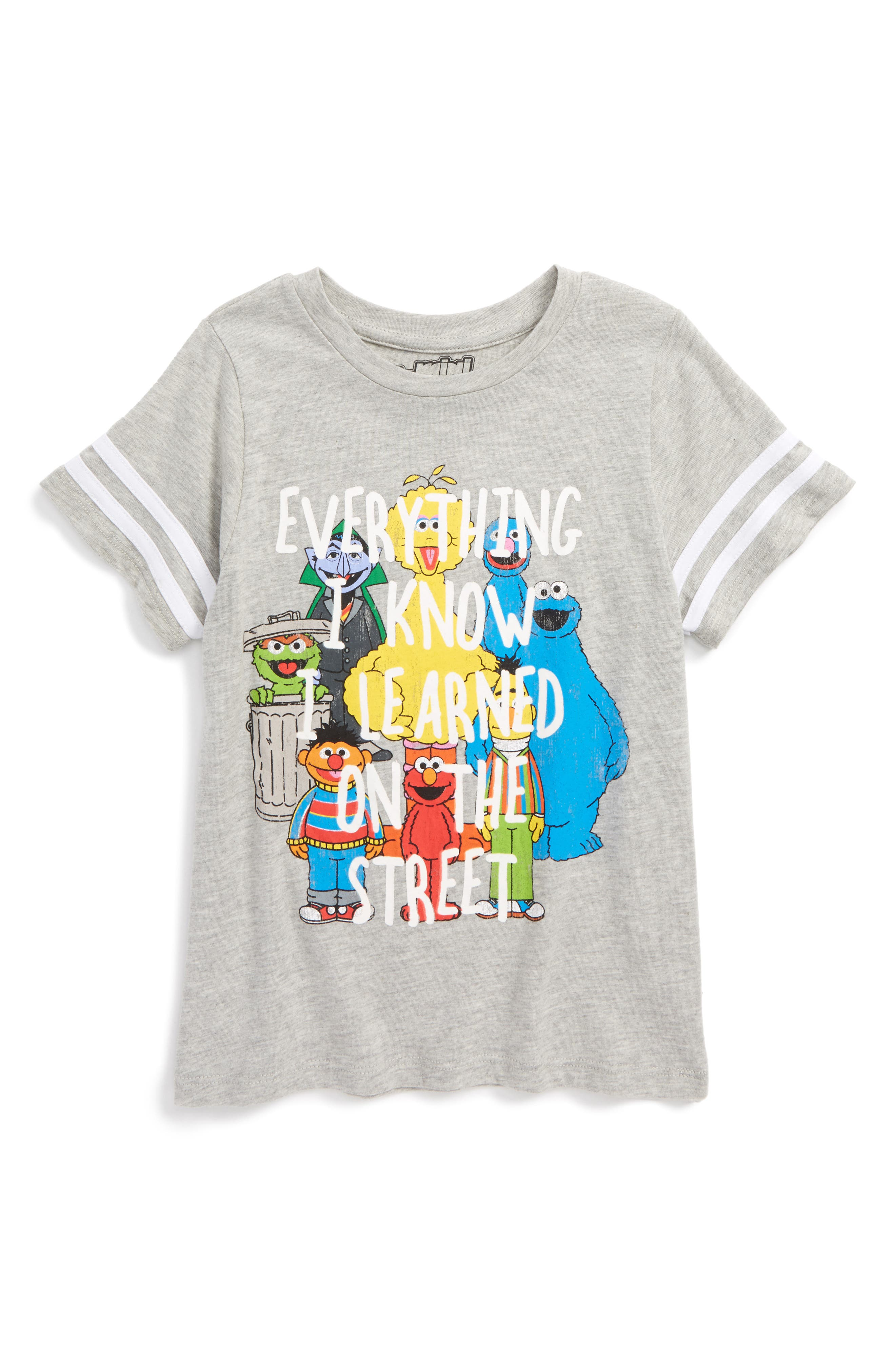 x Sesame Street - Everything I Know T-Shirt,                             Main thumbnail 1, color,                             Charcoal