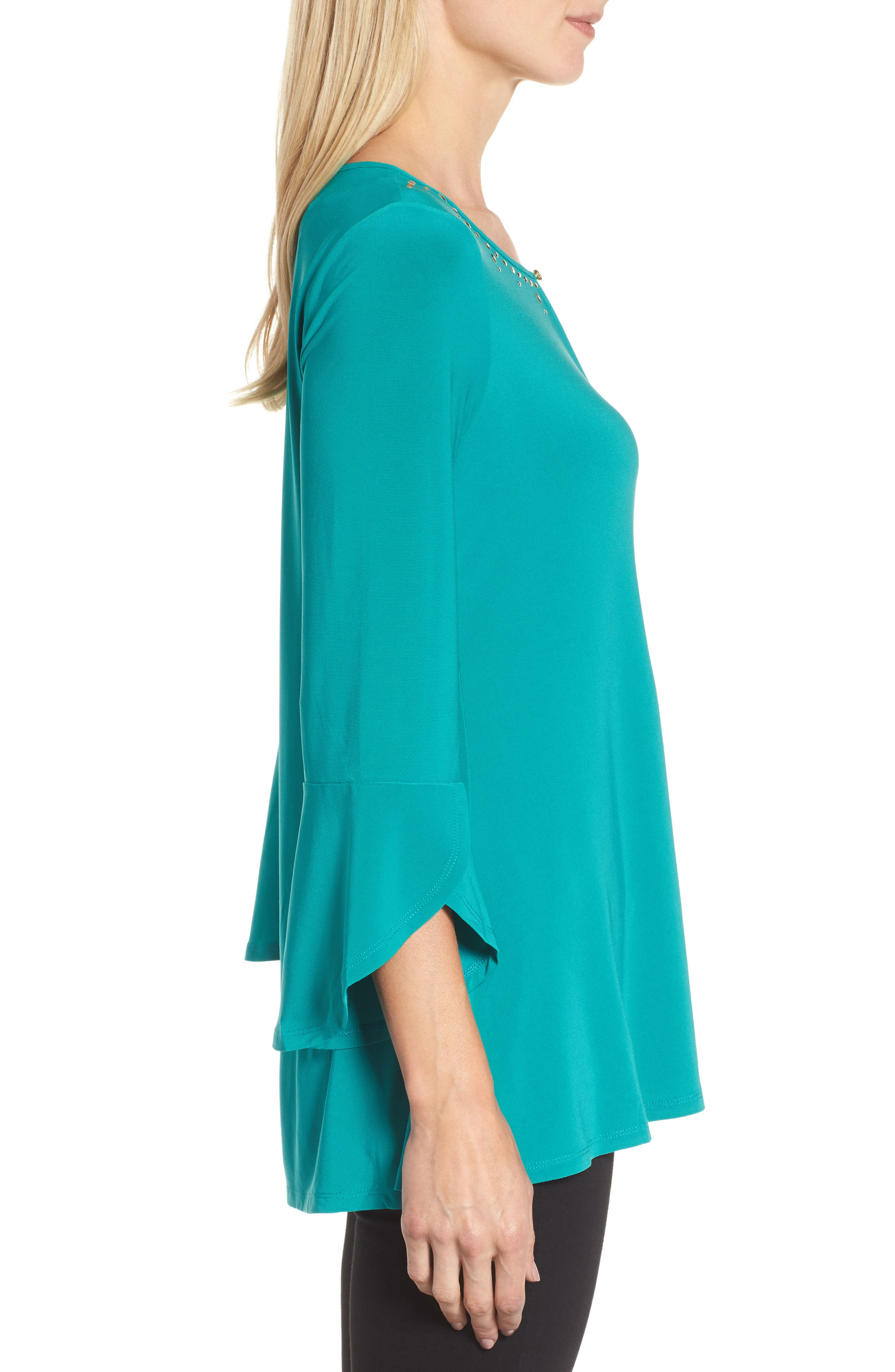 Bell Sleeve Keyhole Top,                             Alternate thumbnail 3, color,                             Radiant Teal